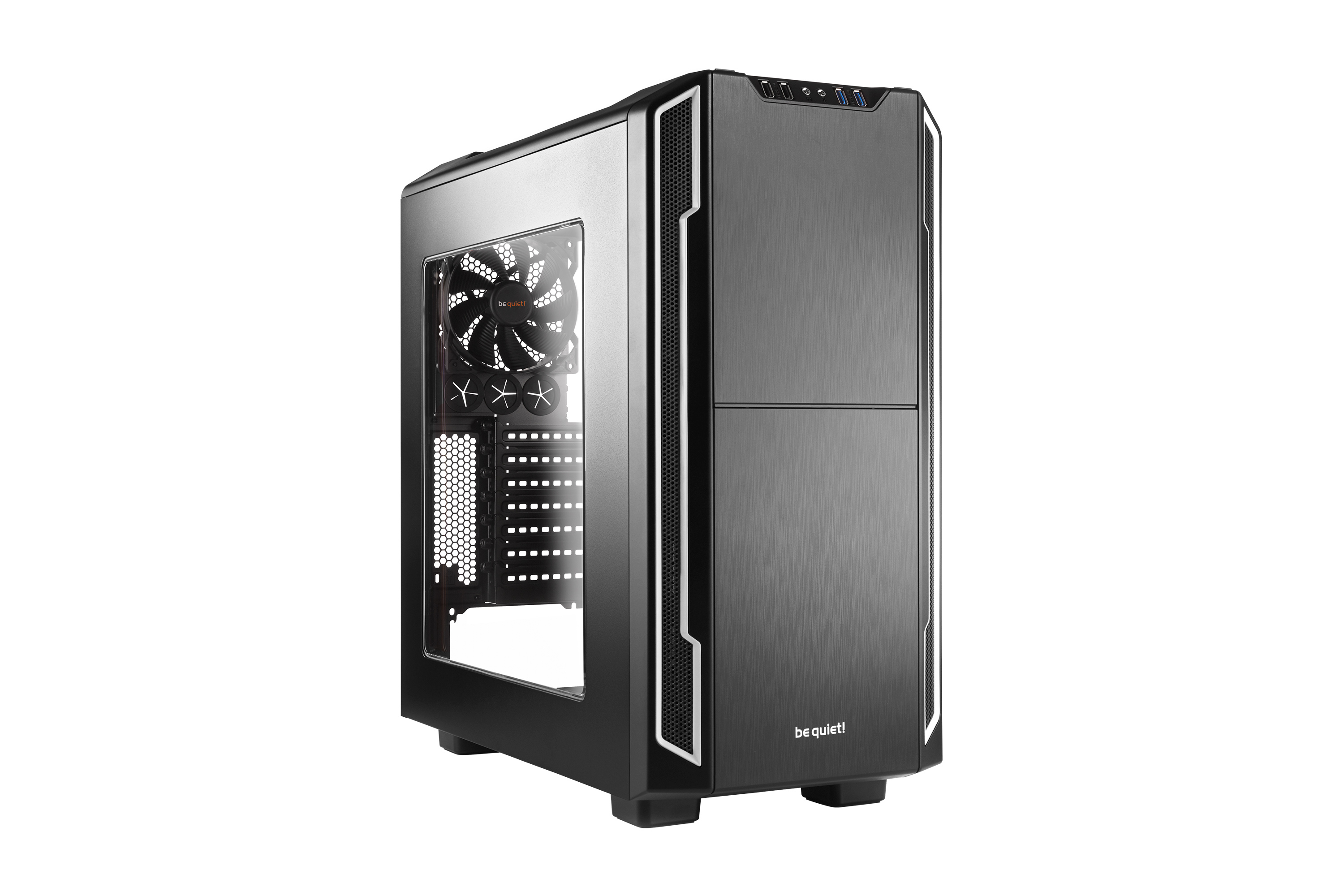 be quiet! Silent Base 600 Window Silver, 495 x 230 x 493, IO-panel 2x USB 3.0, 2x USB 2.0, HD Audio, 3x 5,25, 3x 3,5, 3x 2,5, inc 1x 140 mm en 1x 120 mm fan, dual air channel cooling,