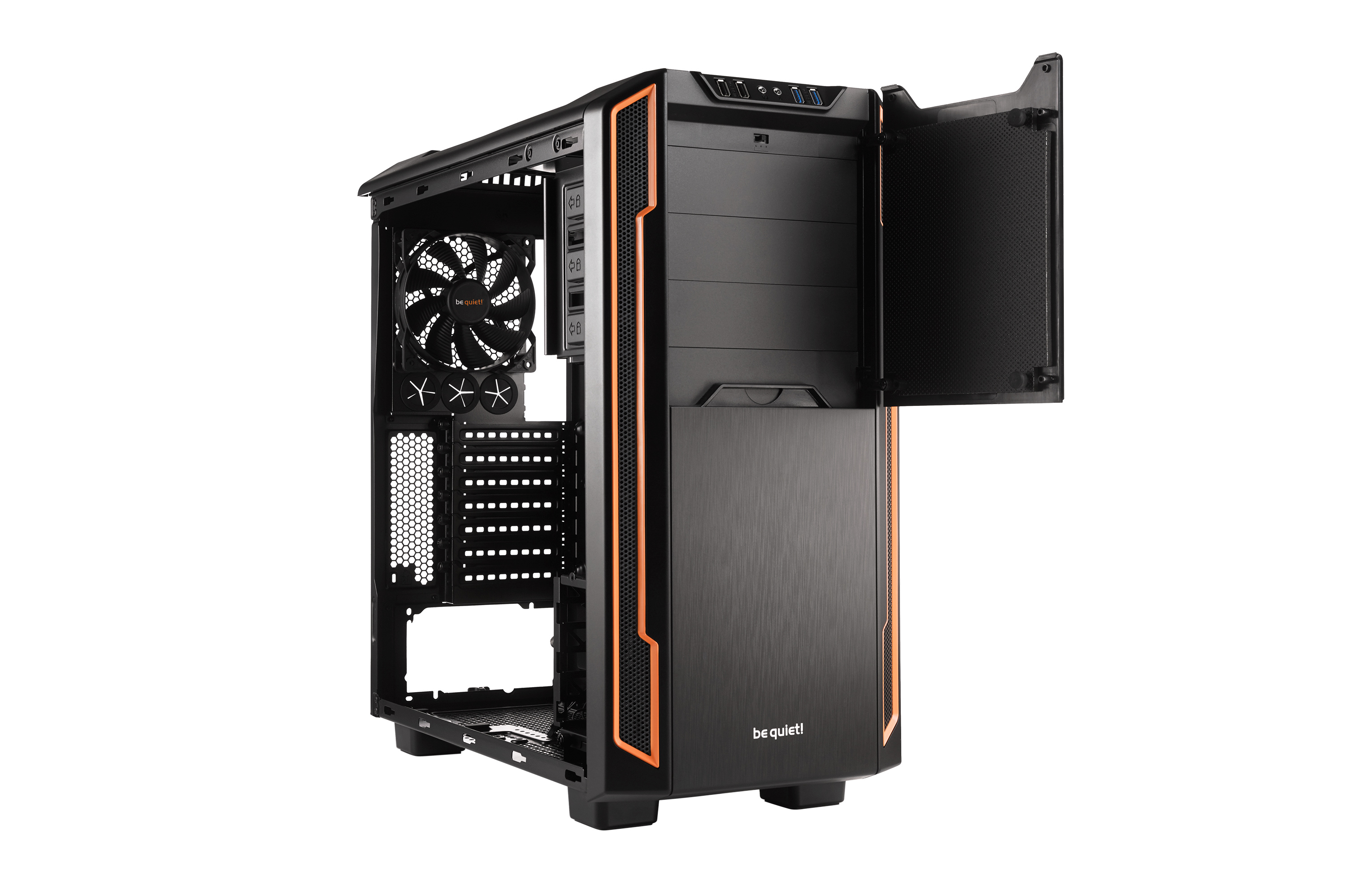 be quiet! Silent Base 600 Window Orange, 495 x 230 x 493, IO-panel 2x USB 3.0, 2x USB 2.0, HD Audio, 3x 5,25, 3x 3,5, 3x 2,5, inc 1x 140 mm en 1x 120 mm fan, dual air channel cooling
