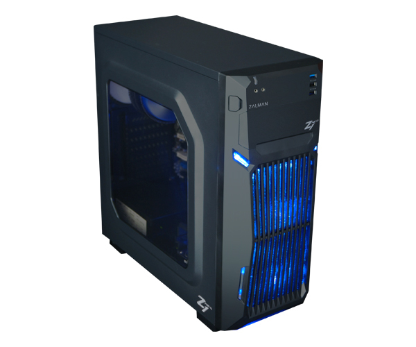 Zalman Z1 NEO ATX Mid Tower PC Case, Pre-installed: 2 x 120mm blue LED fan in front 1 x 120mm blue LED fan rear, Dedicated 5..25 ODD in front, Drive bays: 4 x 3.5, 5 x 2.5, Arcyl window on left side, Dimension: 464(D) x 203(W) x 445(H) mm