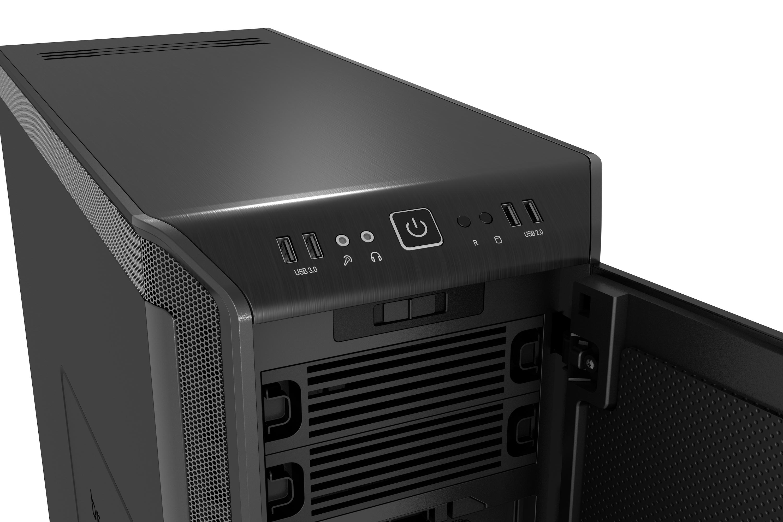 be quiet! Dark Base 900 Black, 577 x 243 x 585, IO-panel 2x USB 3.0, 2x USB 2.0, HD Audio, 2x 5,25, 7x 3,5, 15x 2,5, inc 3x 140 mm, tripple air channel cooling, 2-in-1 airintake sidepanel, Manual fan controoler, 3 x PWM, 3x3pin