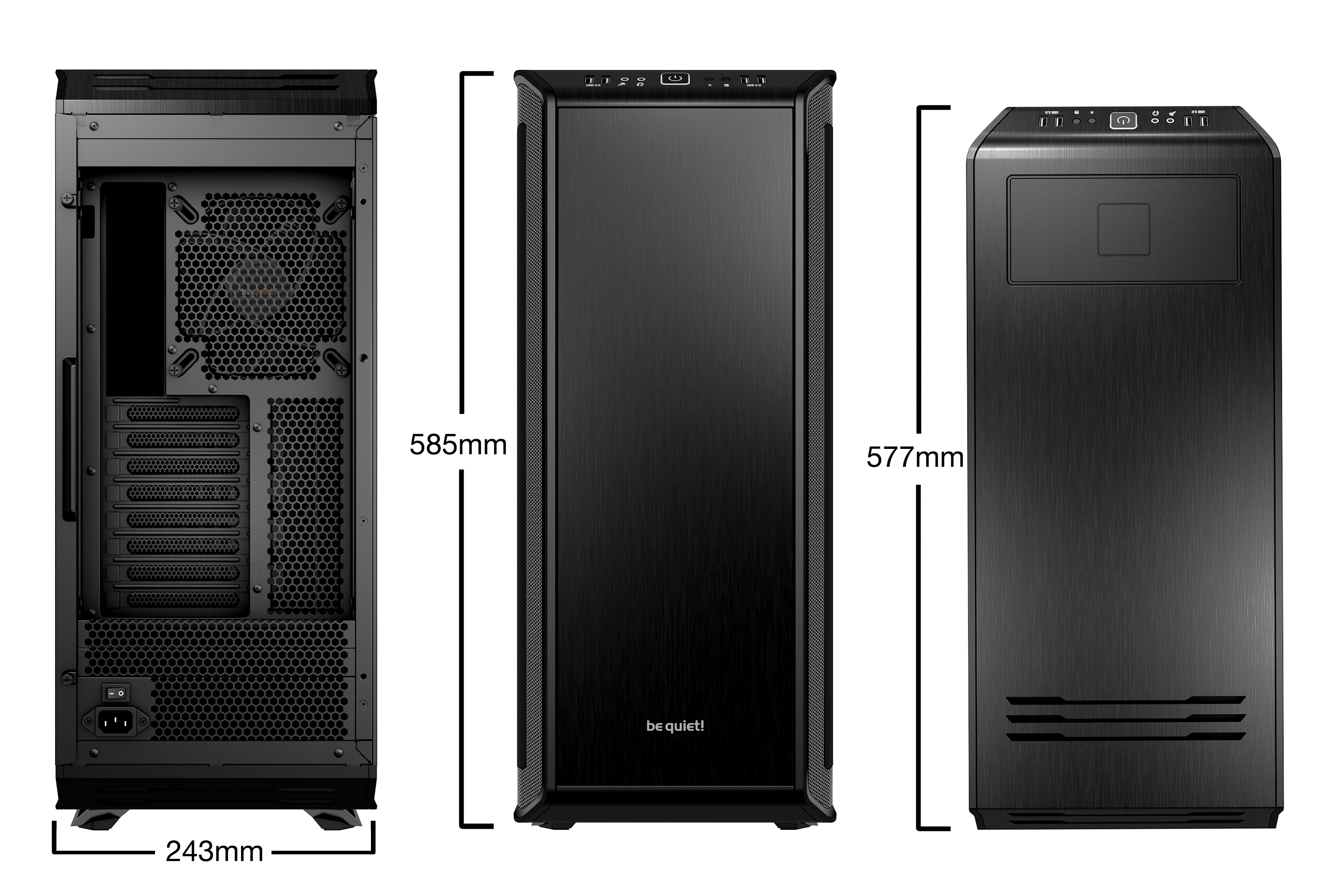 be quiet! Dark Base Pro 900 Window Black, 577 x 243 x 585, IO-panel 2x USB 3.0, 2x USB 2.0, HD Audio, 2x 5,25, 7x 3,5, 15x 2,5, inc 3x 140 mm, tripple air channel cooling, Manual fan controller, 4xPWM, 4x3pin, QI Charging, RGB LED