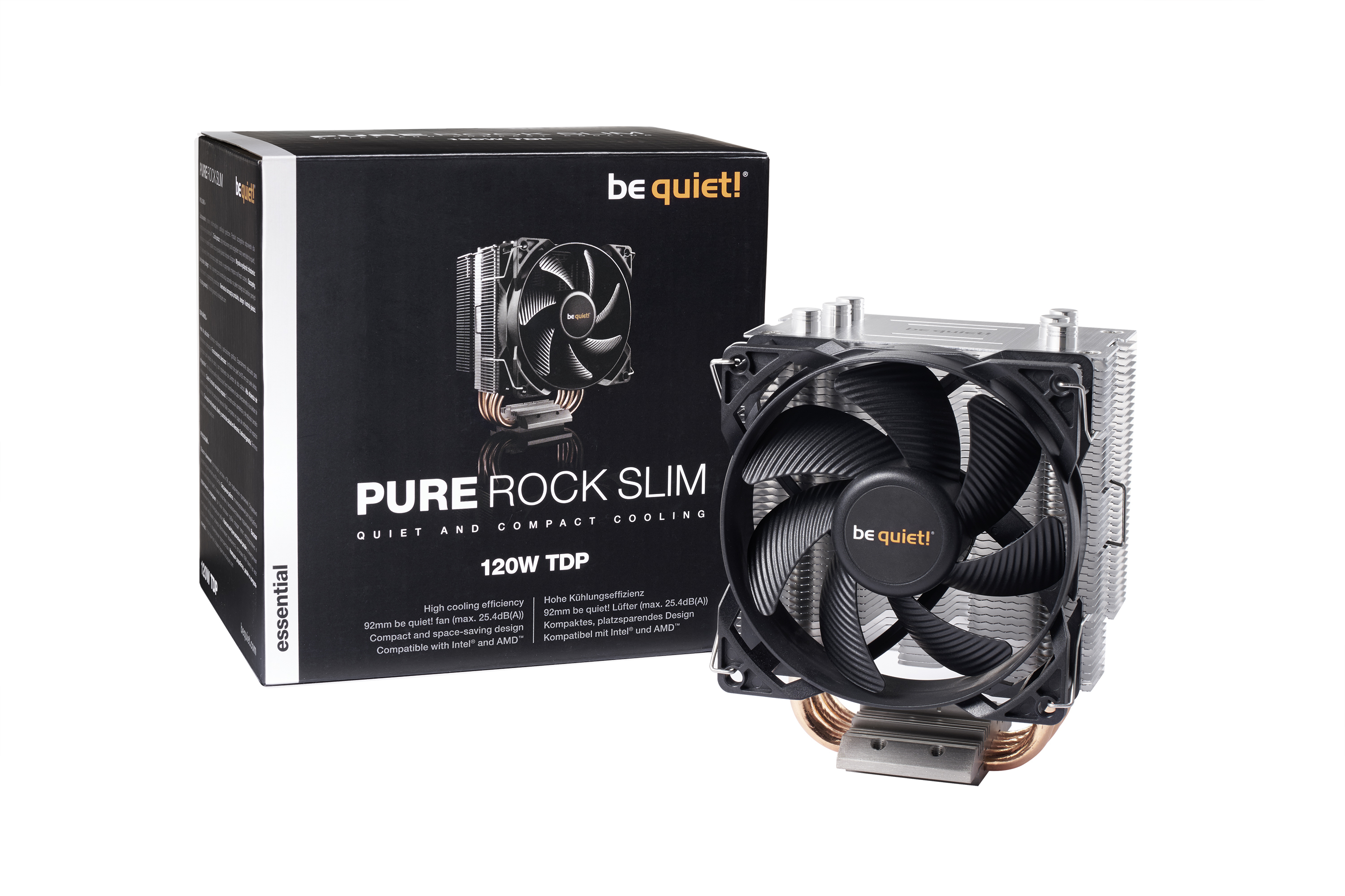 be quiet! Pure Rock Slim, 120W TDP, Intel: 1150 / 1151 / 1155 / 1156 / AMD: AM2 (+) / AM3 (+) / FM1 / FM2(+) - pushpin mounting - 92mm