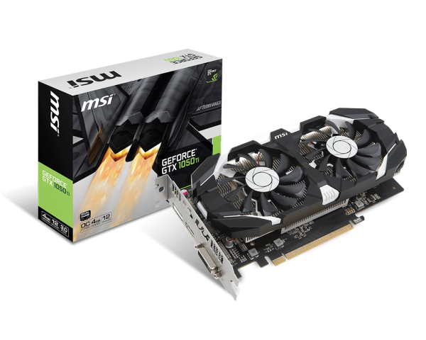 MSI Geforce 1050TI GTX 4GB OC- Dual Slot - 2Fan 1xDVI/1xDP/1xHDMI