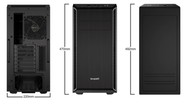 be quiet! Pure Base 600 Silver, 492 x 221 x 468, IO-panel 2x USB 3.0, HD Audio, 2x 5,25, 3x 3,5, 2x 2,5, inc 1x 140 mm en 1x 120 mm fan, dual air channel cooling, 3 step fan controller 3x3 pin, Watercooling ready