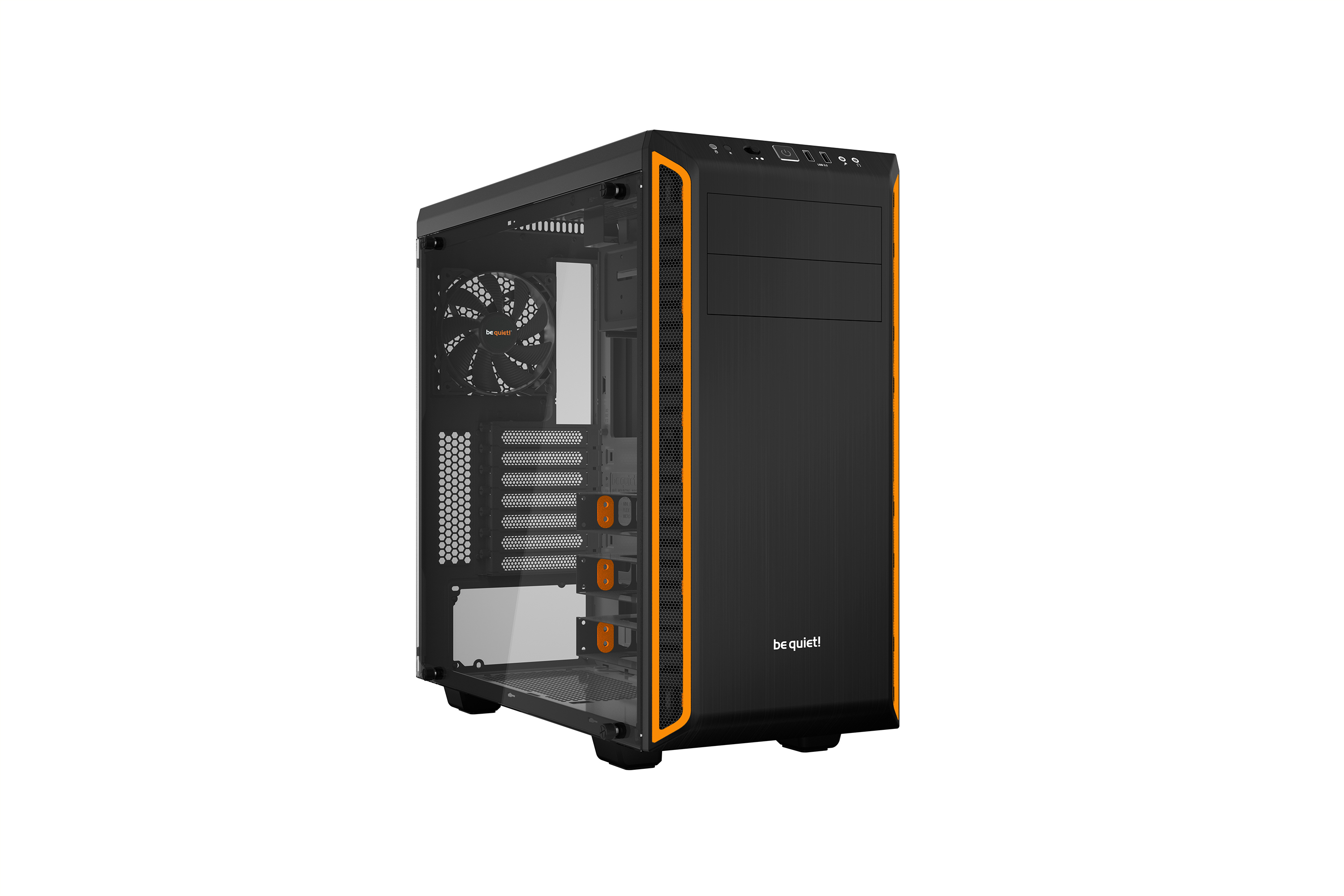 be quiet! Pure Base 600 Window Orange, 492 x 220 x 470, IO-panel 2x USB 3.0, HD Audio, 2x 5,25, 3x 3,5, 2x 2,5, inc 1x 140 mm en 1x 120 mm Pure Wings 2, dual air channel cooling, 3 step fan controller 3x3 pin, Watercooling ready, Glass Windows Side Panel