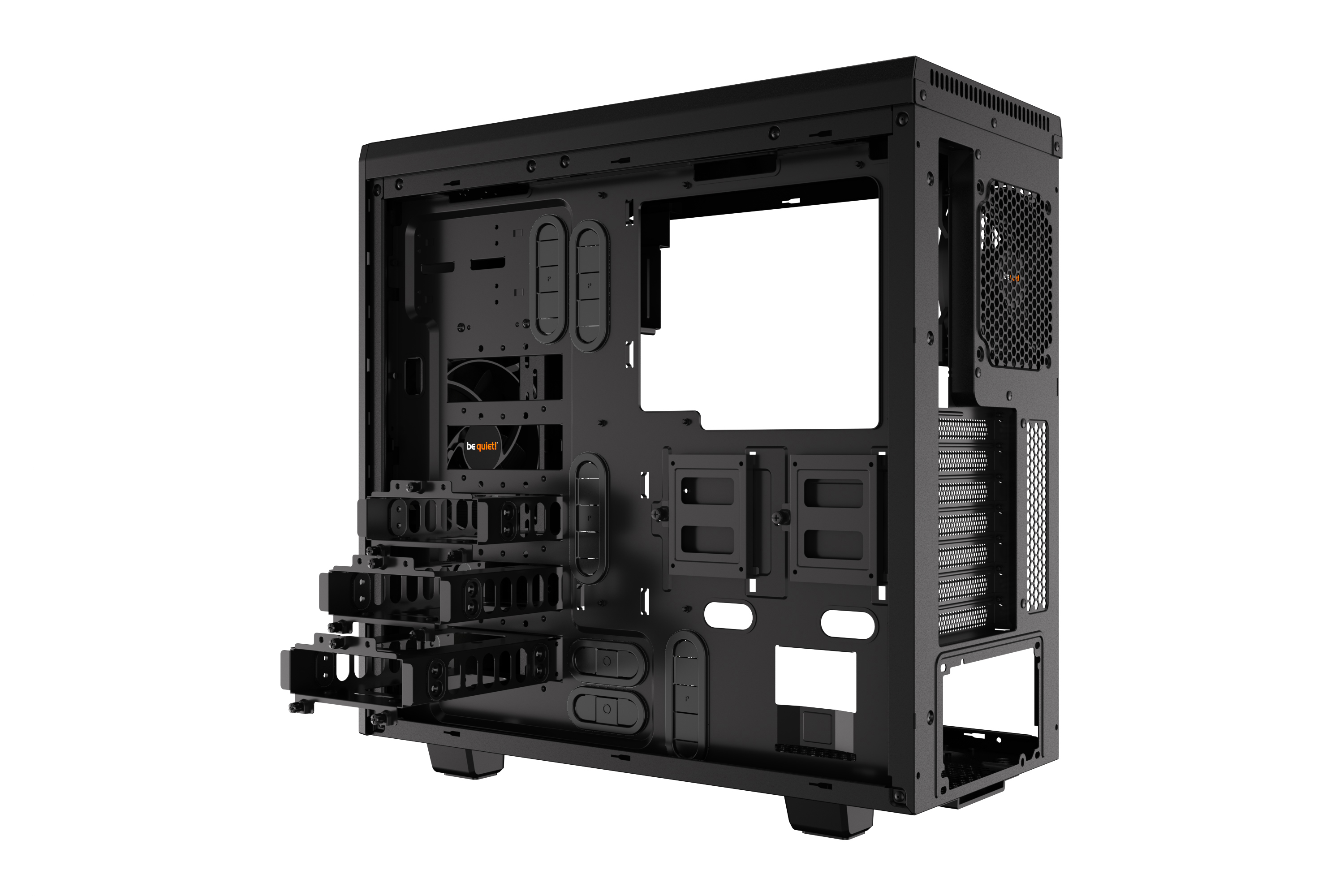 be quiet! Pure Base 600 Window Black, 492 x 220 x 470, IO-panel 2x USB 3.0, HD Audio, 2x 5,25, 3x 3,5, 2x 2,5, inc 1x 140 mm en 1x 120 mm Pure Wings 2, dual air channel cooling, 3 step fan controller 3x3 pin, Watercooling ready, Glass Windows Side Panel