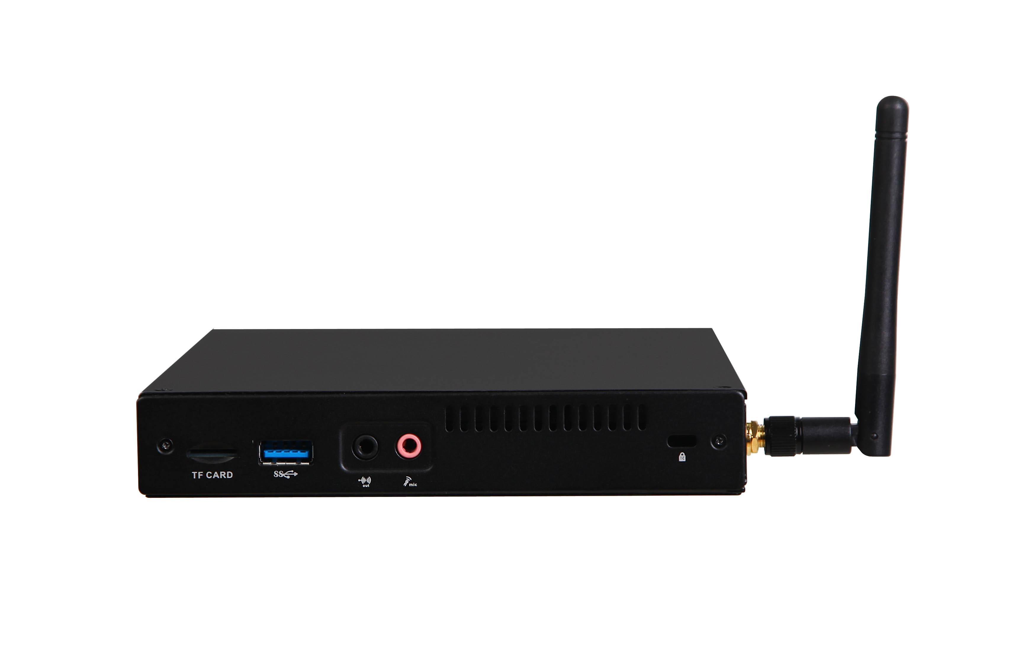 Giada MiniPC barebone F105D fanless, Intel Celeron N3450, HD Graphics 550, 2 GB on-board, 1x SO-DIMM DDR3-L, 1x Sata, 1x mSata, 2x GB Lan, 3 x USB2, 3x USB3, VGA, HDMI, DP, Black