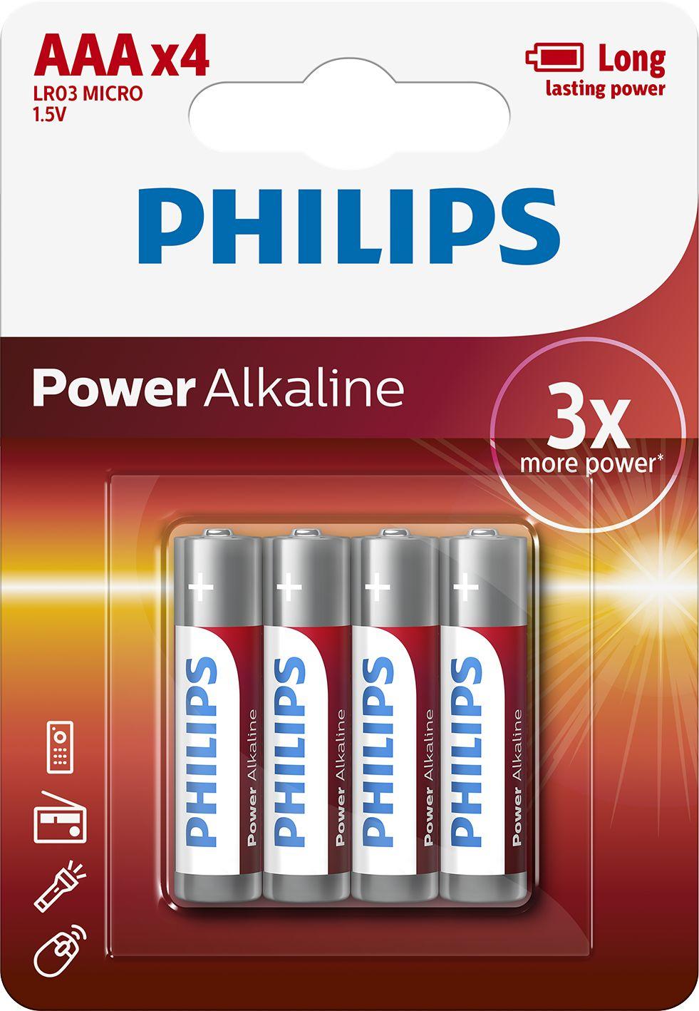 PHILIPS BATTERY ALKALINE POWERLIFE LR03/AAA BLI*4 (LR3PB4C/10), multipack