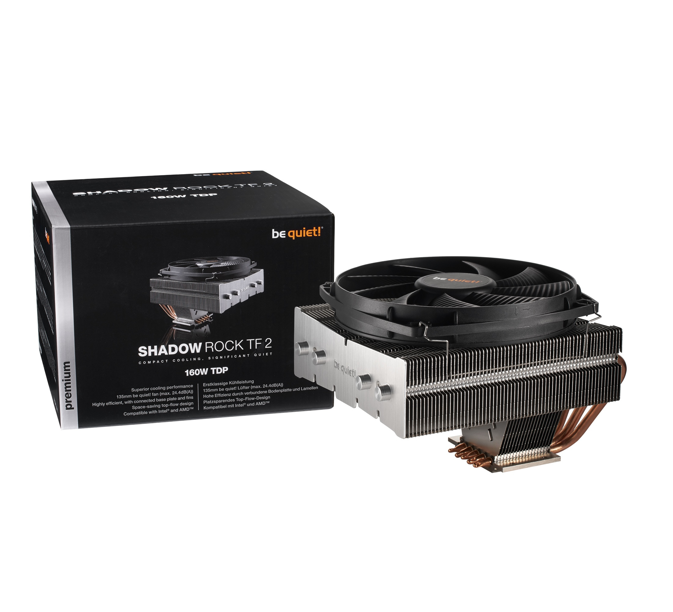be quiet! Shadow Rock TF 2, Top Down design, 160W TDP, 135mm fan, Intel 775, 115X, 1366, 2011, 2066 AMD AM2, AM3, FM1, FM2