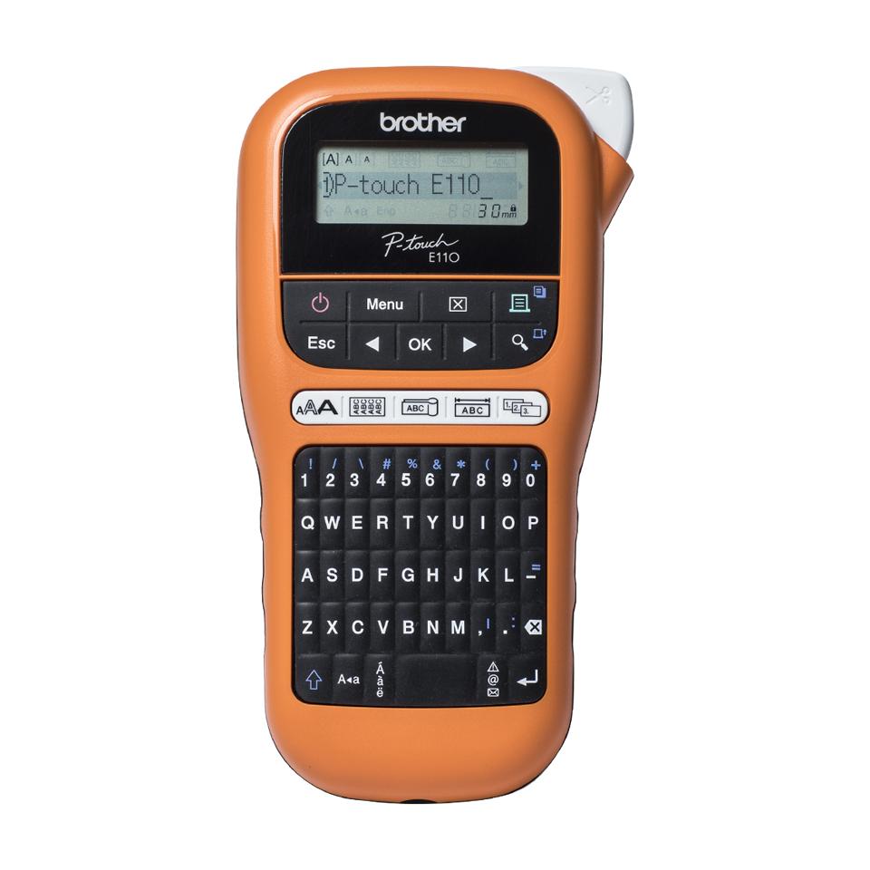 Brother beletteringssysteem, draagbaar industrieel model (oranje/zwart) 3.5/6/9/12mm TZe-tape. 2 regels printen. QWERTY en 123 toetsenbord. LCD scherm. (incl. koffer/adapter/9 mm Z/W)