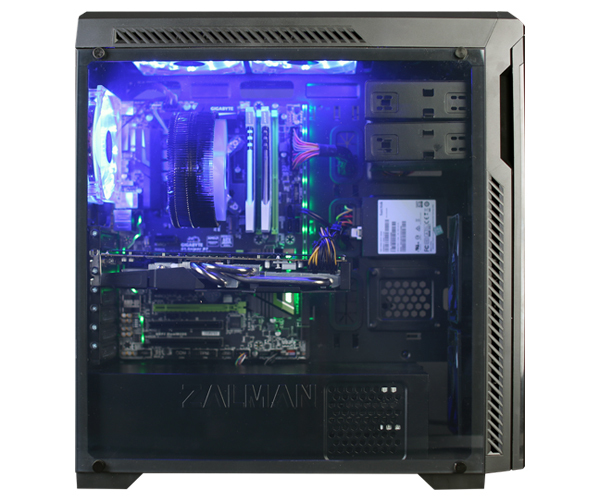 Zalman Z9 NEO PLUS BLACK, ATX Mid Tower PC Case, Full Acryl side panel, 5 Fans installed (15 dot Blue LED 3 Fans, 2 standard fans installed)