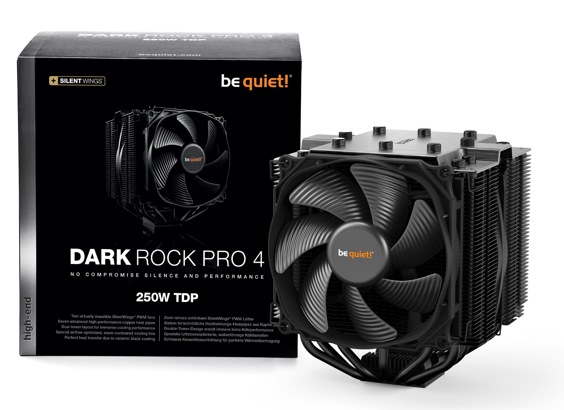 be quiet! Dark Rock Pro 4, 250W TDP, Intel: 1150/1151/1155/1156/1366/2011/2066 AMD: AM2 (+) / AM3 (+) / FM1 / FM2