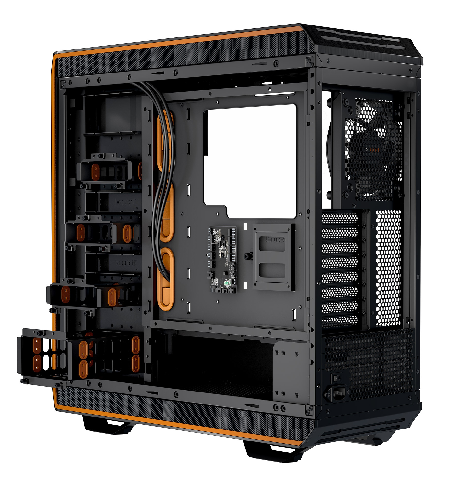 be quiet! Dark Base Pro 900 Window Orange rev.2, 577 x 243 x 585, IO-panel 2x USB 3.0, 1x USB 3.1 Gen2 Type C, HD Audio, 2x 5,25, 5x 3,5, 10x 2,5, inc 3x 140 mm, tripple air channel cooling, Manual fan controller, 4xPWM, 4x3pin, QI Charging option,