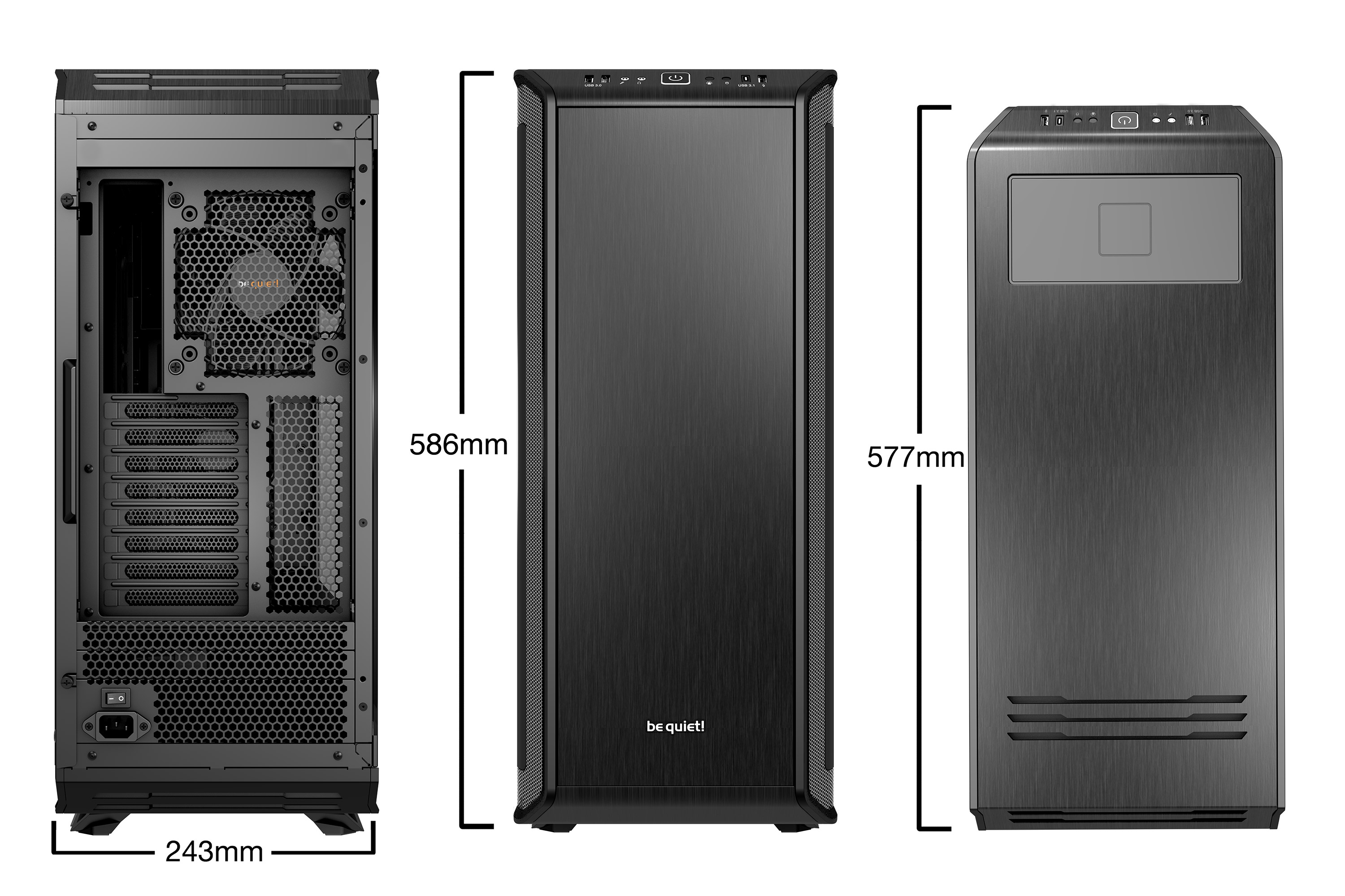 be quiet! Dark Base Pro 900 Window Black rev.2, 577 x 243 x 585, IO-panel 2x USB 3.0, 1x USB 3.1 Gen2 Type C, HD Audio, 2x 5,25, 5x 3,5, 10x 2,5, inc 3x 140 mm, tripple air channel cooling, Manual fan controller, 4xPWM, 4x3pin, QI Charging option, R