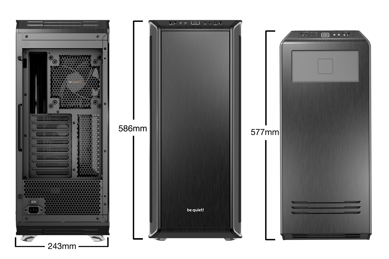 be quiet! Dark Base Pro 900 Window Silver rev.2, 577 x 243 x 585, IO-panel 2x USB 3.0, 1x USB 3.1 Gen2 Type C, HD Audio, 2x 5,25, 5x 3,5, 10x 2,5, inc 3x 140 mm, tripple air channel cooling, Manual fan controller, 4xPWM, 4x3pin, QI Charging option,