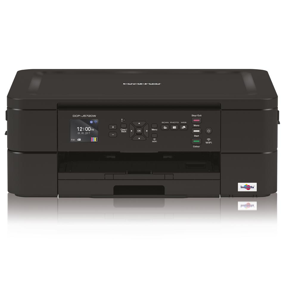 Brother DCP-J572DW Flatbed kleur A4 inkjetprinter/copier/scanner 27/10 ppm (zwart-wit/kleur) 1200x6000dpi 128MB duplex USB 2.0 Hi-Speed 1 vel handmatige papierinvoer, inkt: 3211 / 3213
