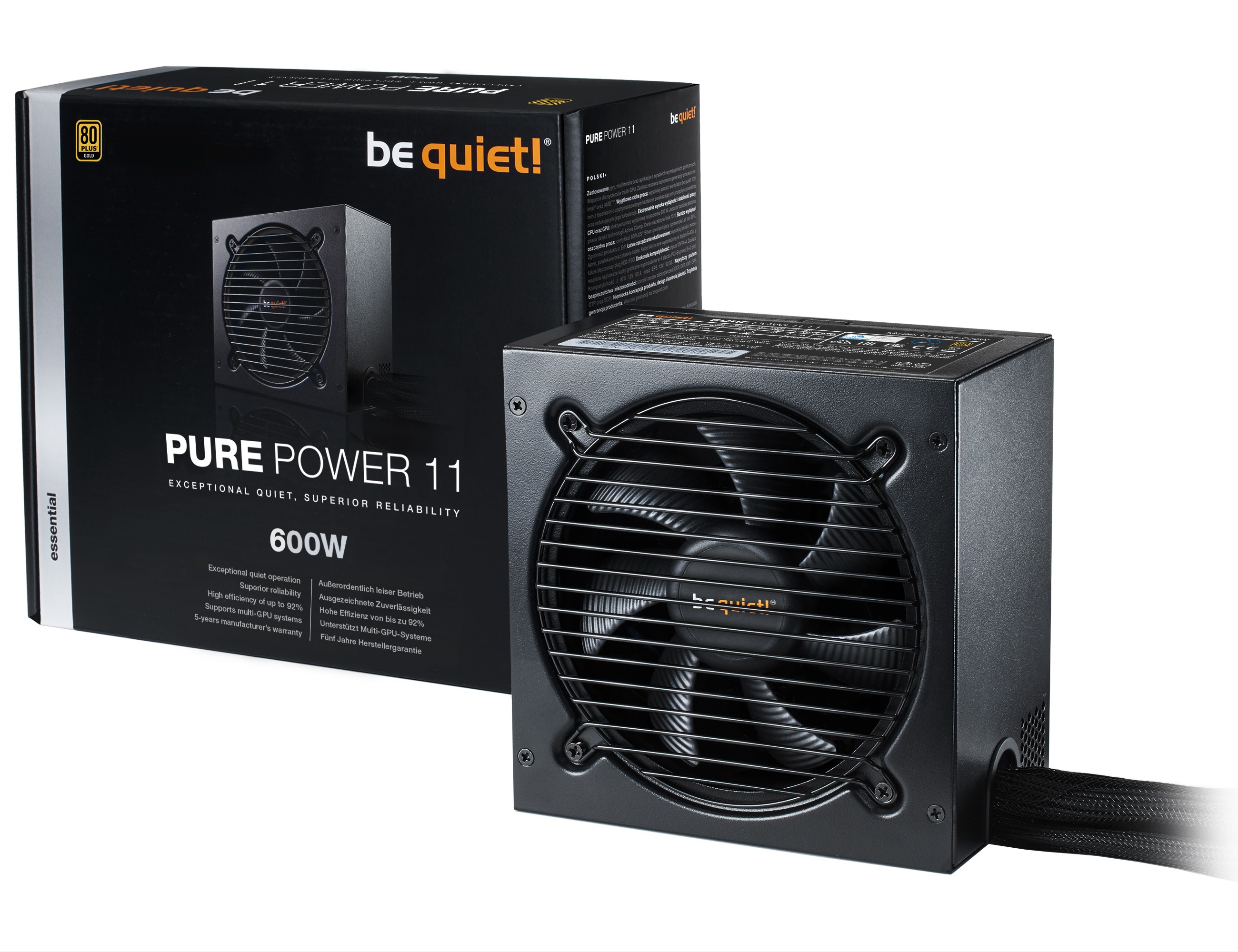 be quiet! Pure Power 11 600W, 80+ Gold, ErP, Energy Star 6.0 APFC, Sleeved, 4xPCI-Ex, 6xSATA, 3xPATA, 2 Rails, 120 mm Fan
