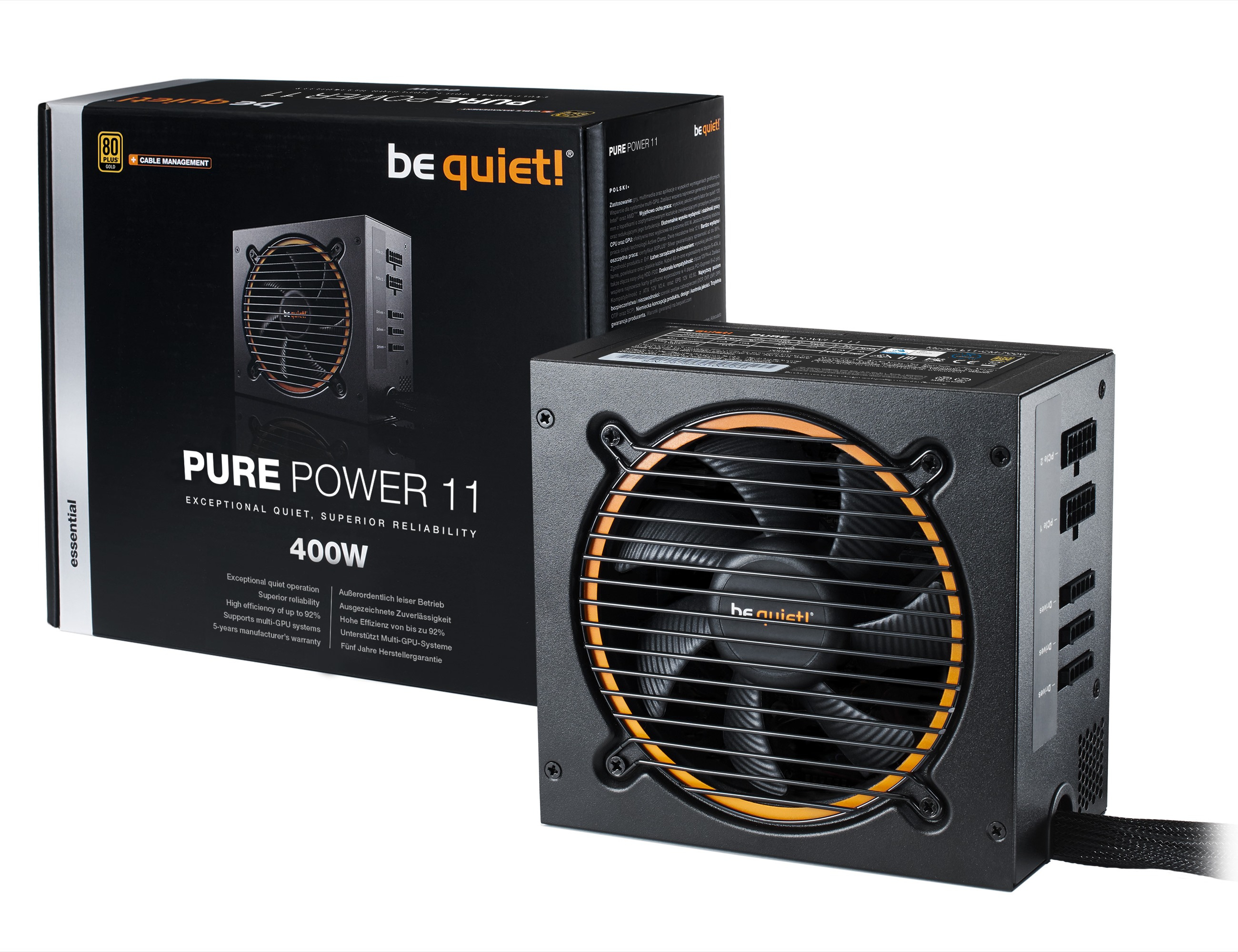 be quiet! Pure Power 11 400W CM, Cable Management, 80+ Gold, ErP, Energy Star 6.0 APFC, Sleeved, 2xPCI-Ex, 5xSATA, 2xPATA, 2 Rails, 120 mm Fan
