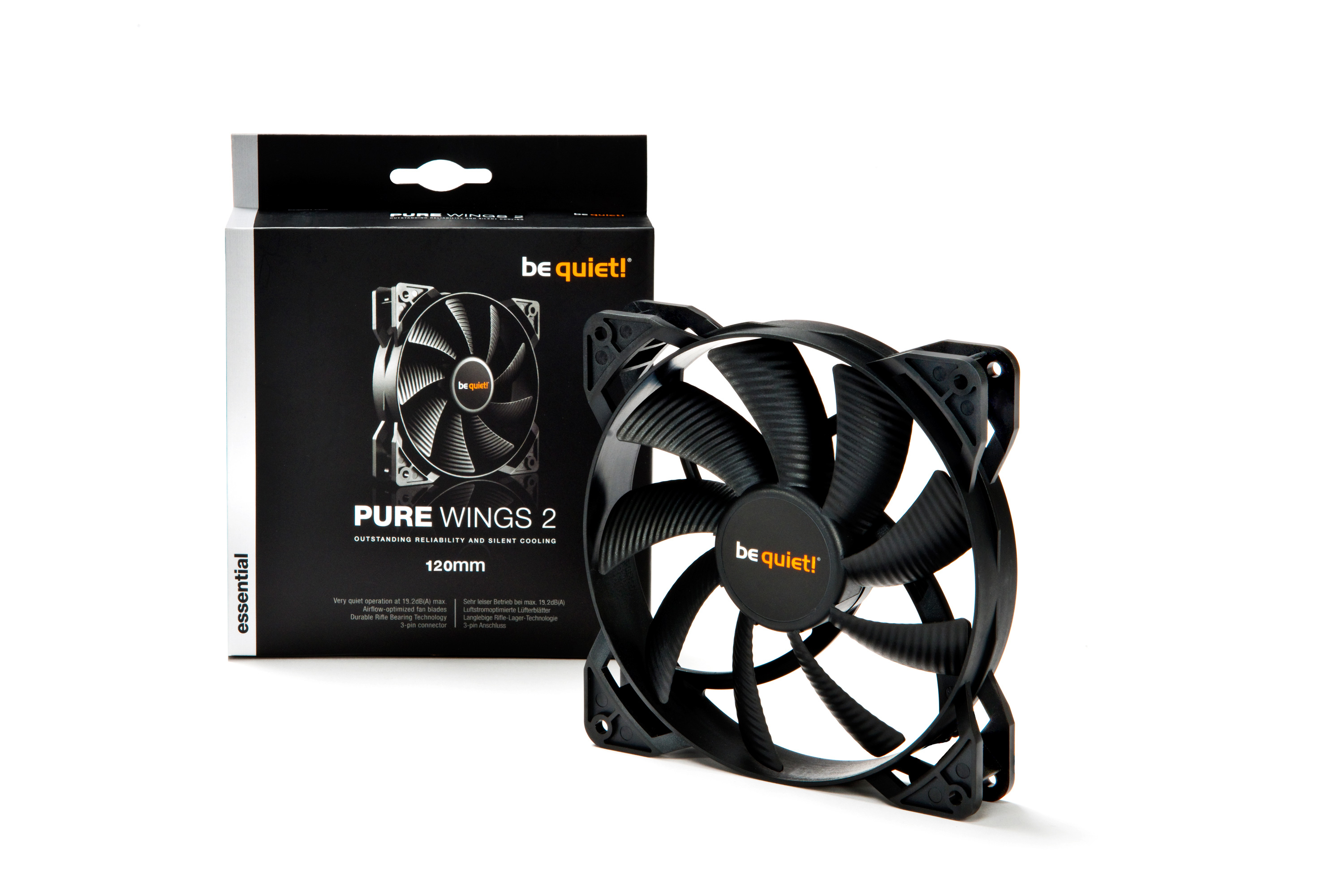be quiet! Pure Wings 2 120mm, 120x120x25, 1500 rpm, 19,2 dB, 51,4 cfm, 3 pin