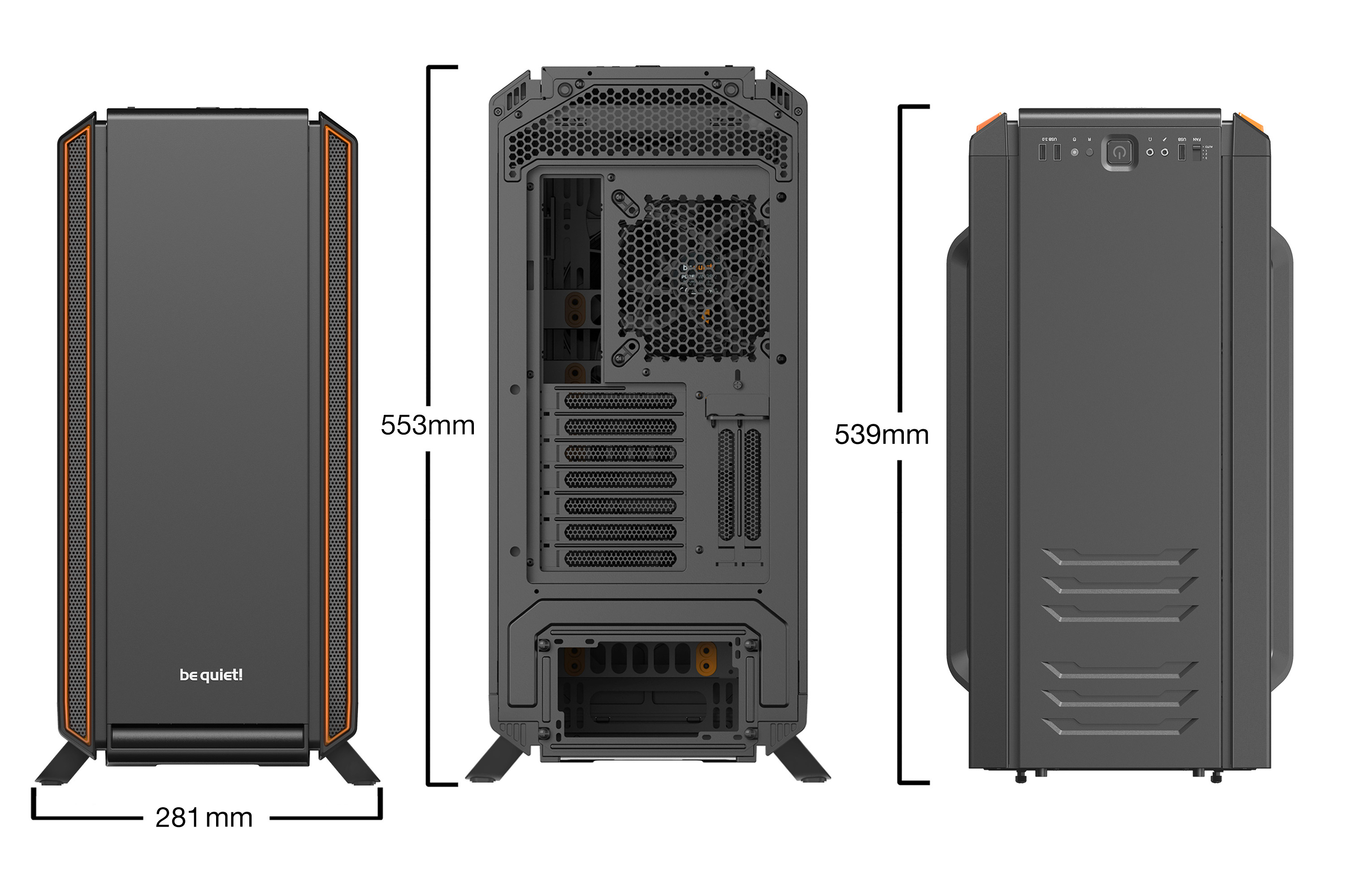 be quiet! Silent Base 801 Orange, 539 x 281 x 553, IO-panel 2x USB 3.0, 1x USB 2.0, HD Audio, 5 (7) x 3,5, 11 (15) x 2,5, inc 2x Front / 1x Rear 140 mm Pure Wings 2, dual air channel cooling, 3-in-1 airintake sidepanel