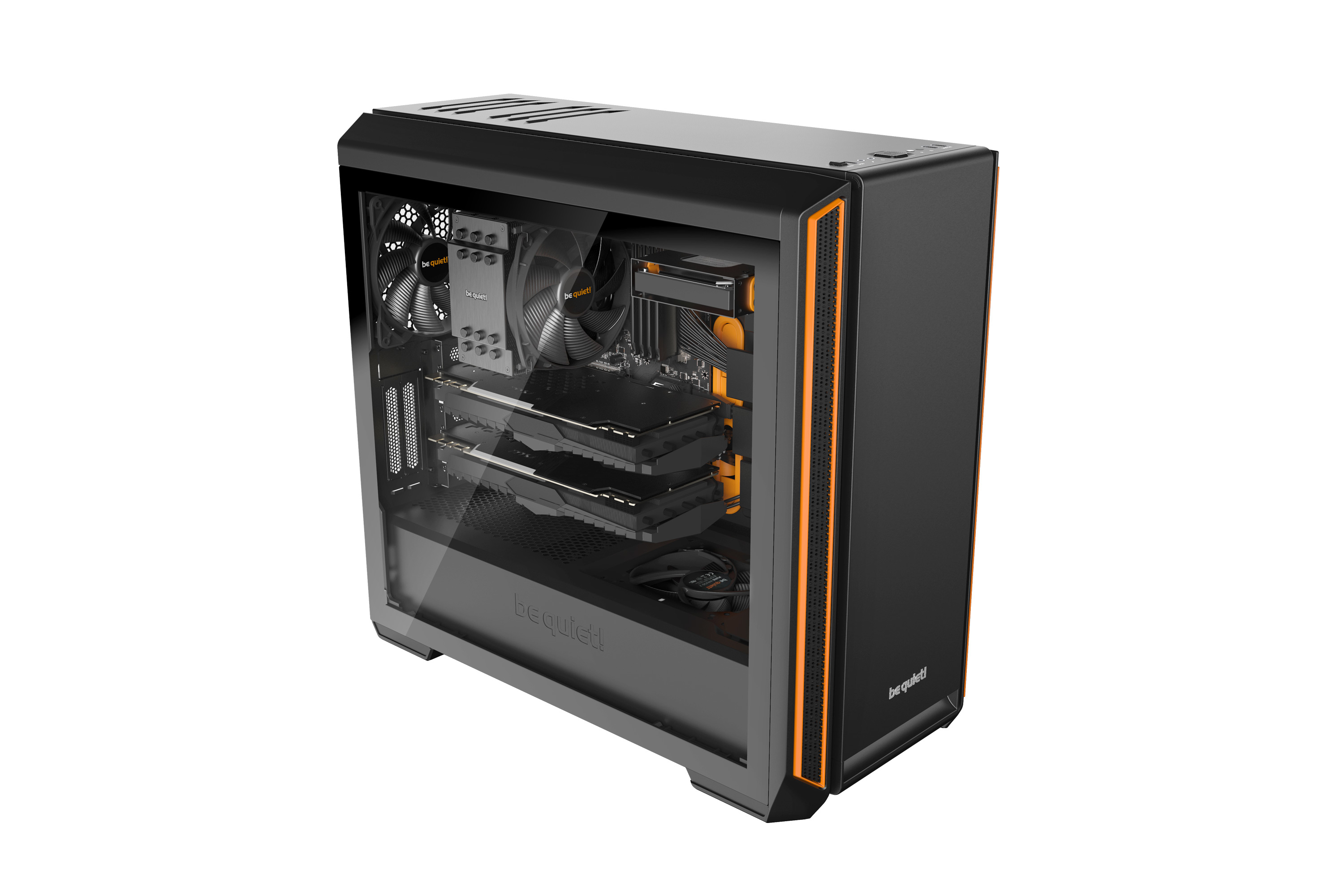 be quiet! Silent Base 601 Window Orange, 532 x 240 x 514, IO-panel 2x USB 3.0, 1x USB 2.0, HD Audio, 3 (7) x 3,5, 6 (14) x 2,5, inc 2x 140 mm Pure Wings 2, dual air channel cooling, Tinted and Tempered Glass side panel