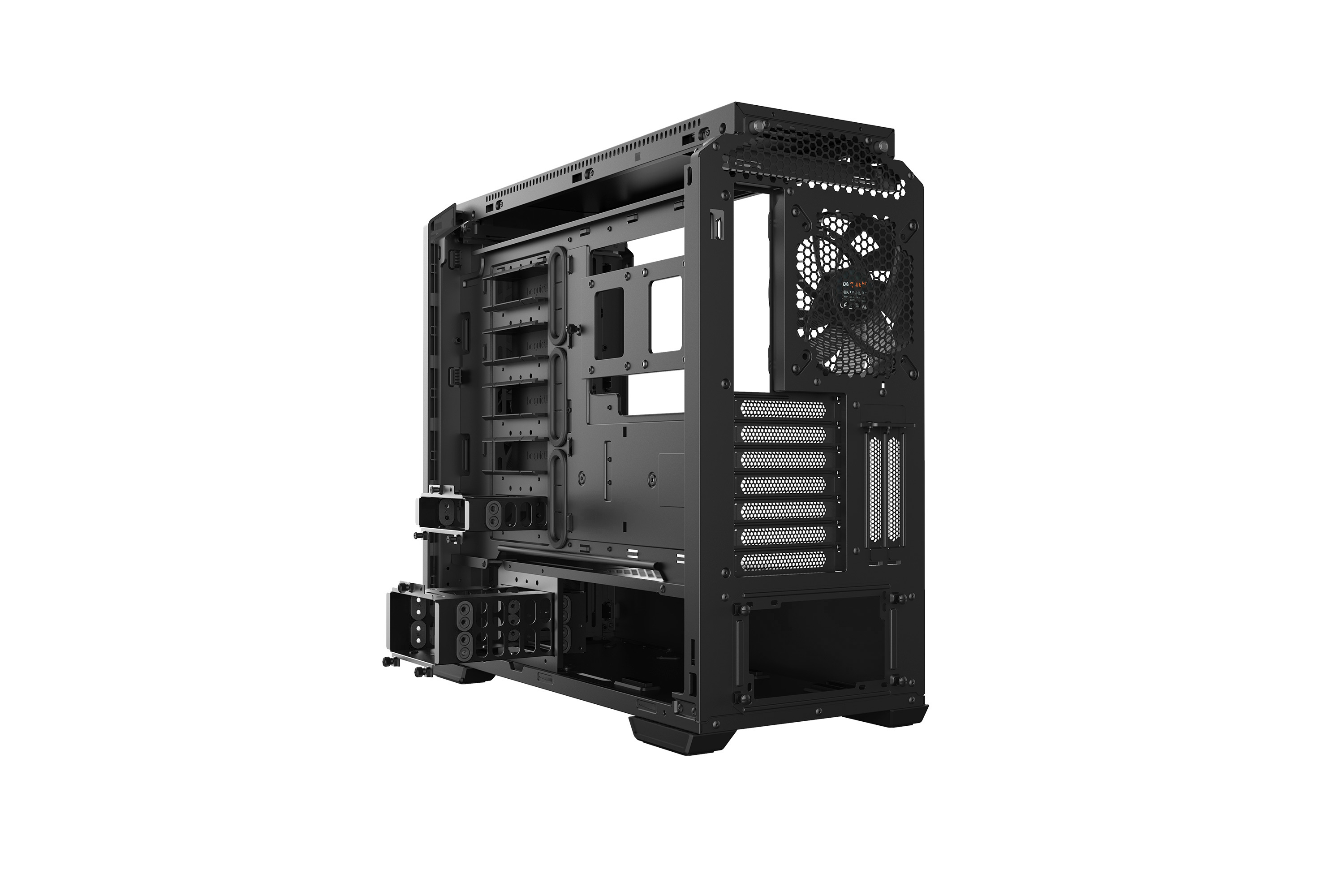 be quiet! Silent Base 601 Window Black, 532 x 240 x 514, IO-panel 2x USB 3.0, 1x USB 2.0, HD Audio, 3 (7) x 3,5, 6 (14) x 2,5, inc 2x 140 mm Pure Wings 2, dual air channel cooling, Tinted and Tempered Glass side panel