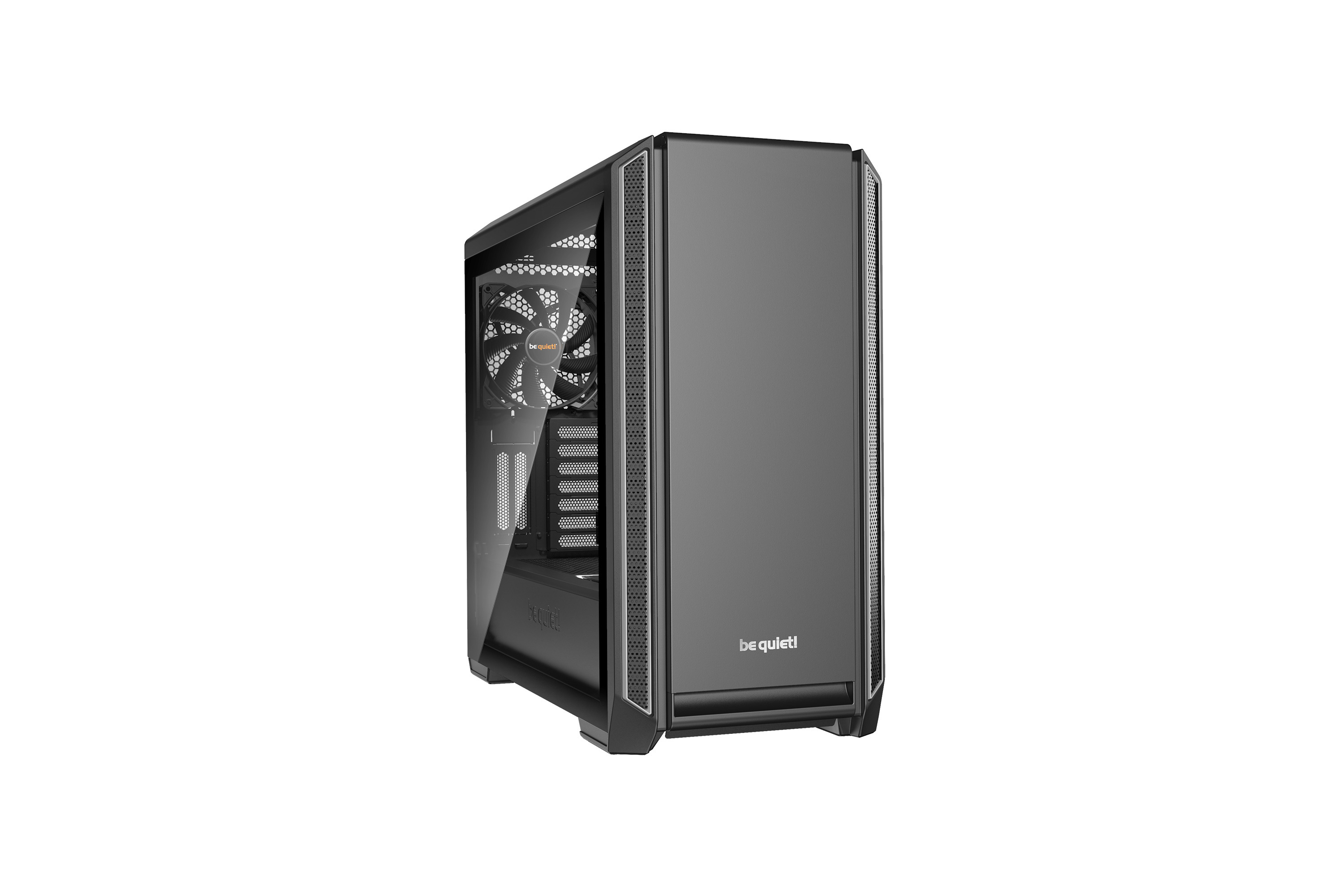 be quiet! Silent Base 601 Window Silver, 532 x 240 x 514, IO-panel 2x USB 3.0, 1x USB 2.0, HD Audio, 3 (7) x 3,5, 6 (14) x 2,5, inc 2x 140 mm Pure Wings 2, dual air channel cooling, Tinted and Tempered Glass side panel