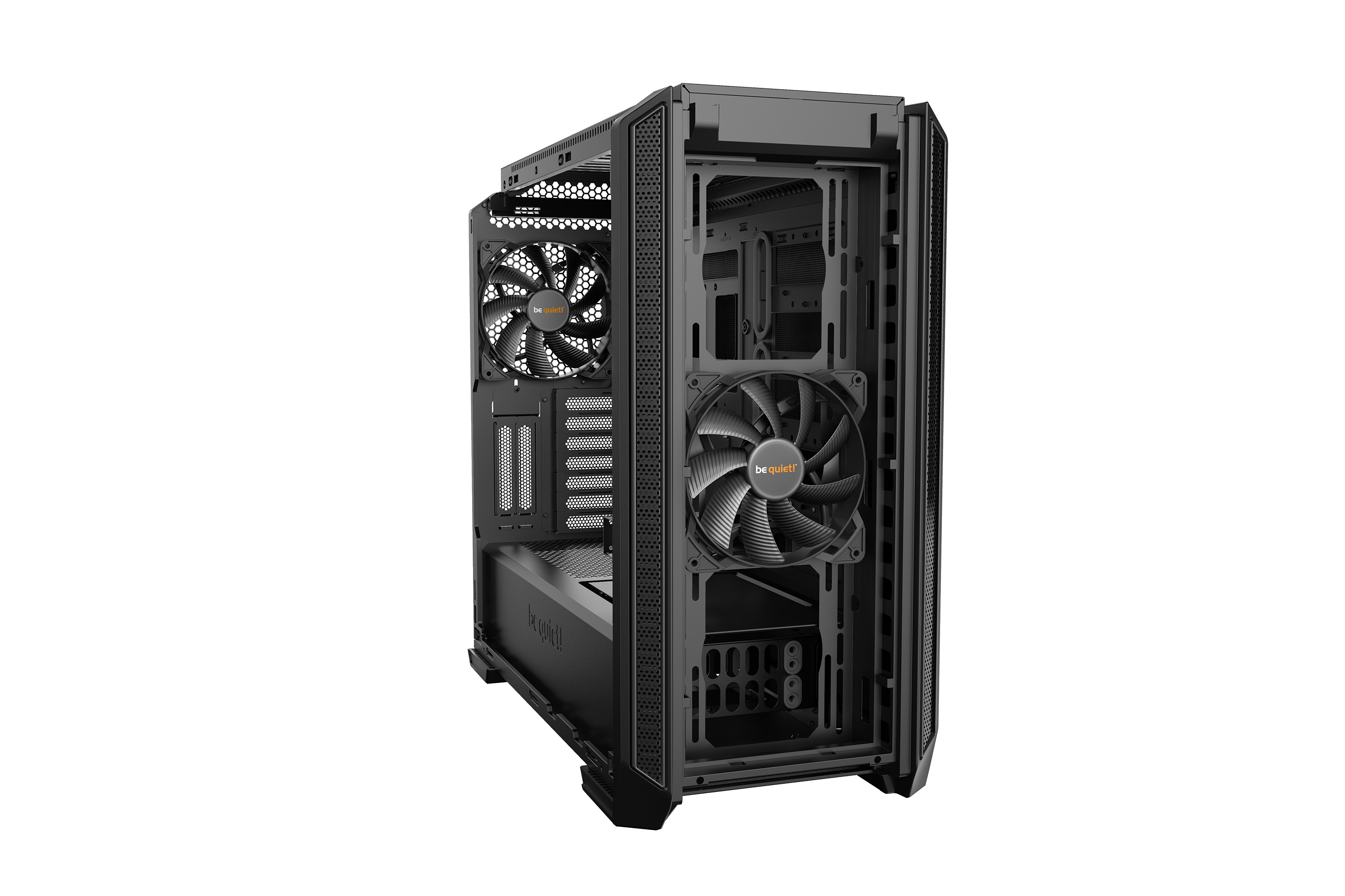 be quiet! Silent Base 601 Black, 532 x 230 x 513, IO-panel 2x USB 3.0, 1x USB 2.0, HD Audio, 3 (7) x 3,5, 6 (14) x 2,5, inc 2x 140 mm Pure Wings 2, dual air channel cooling, 3-in-1 airintake sidepanel