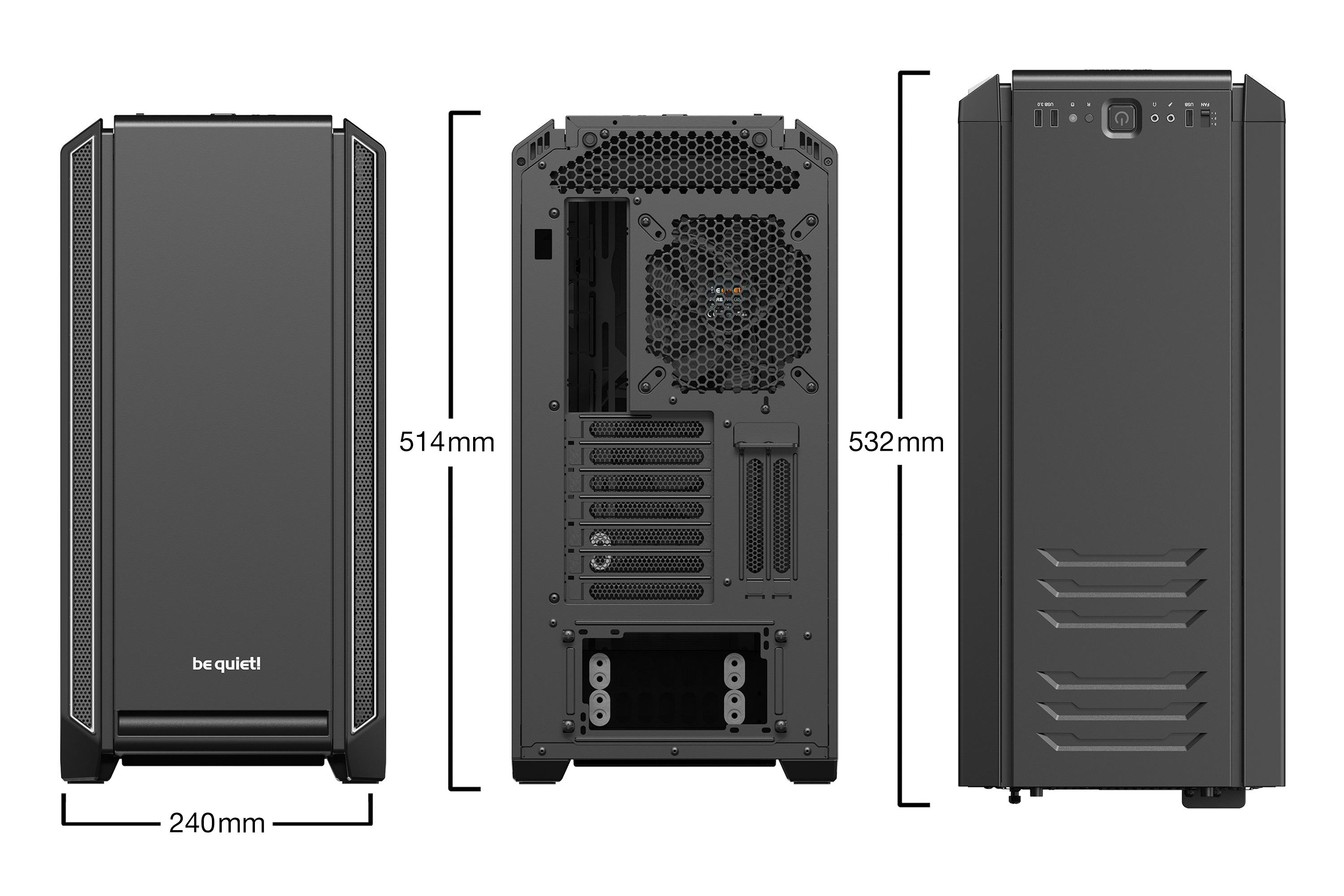 be quiet! Silent Base 601 Silver, 532 x 230 x 513, IO-panel 2x USB 3.0, 1x USB 2.0, HD Audio, 3 (7) x 3,5, 6 (14) x 2,5, inc 2x 140 mm Pure Wings 2, dual air channel cooling, 3-in-1 airintake sidepanel