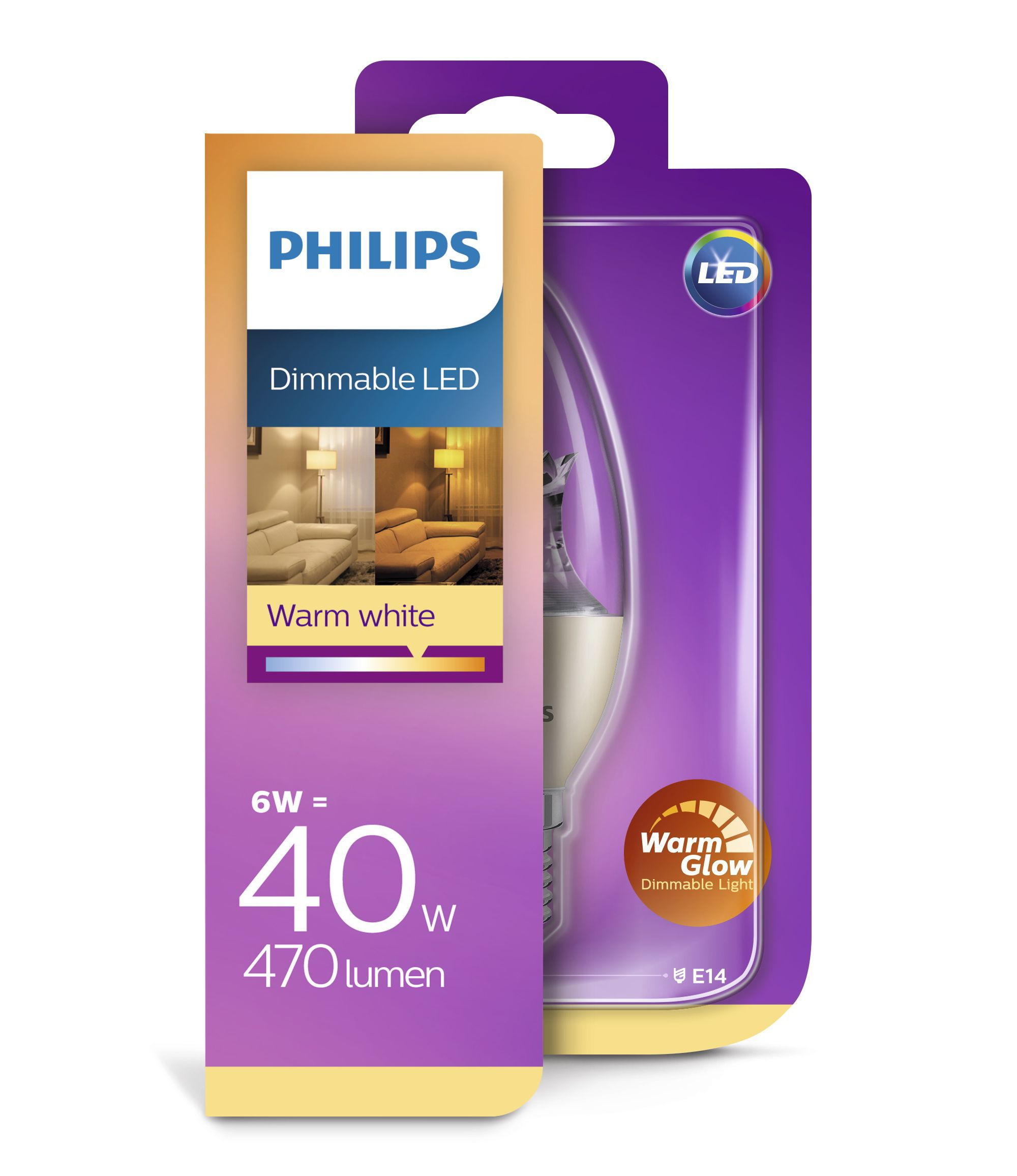 Philips Verlichting LED Kaarslamp (dimbaar) LED CLA 40W E14
