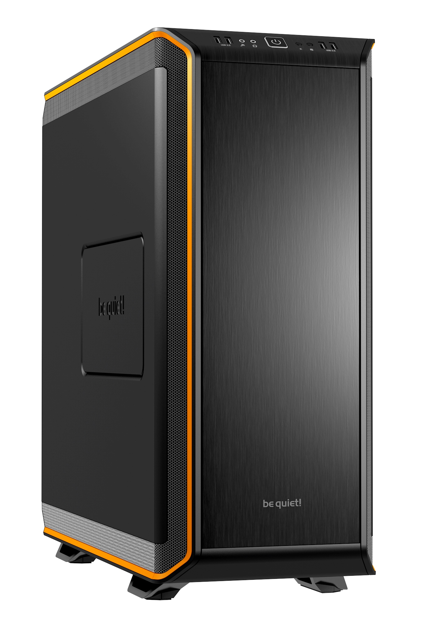 be quiet! Dark Base 900 Orange, 577 x 243 x 585, IO-panel 2x USB 3.0, 2x USB 2.0, HD Audio, 2x 5,25, 7x 3,5, 15x 2,5, inc 3x 140 mm, tripple air channel cooling, 2-in-1 airintake sidepanel, Manual fan controoler, 3 x PWM, 3x3pin