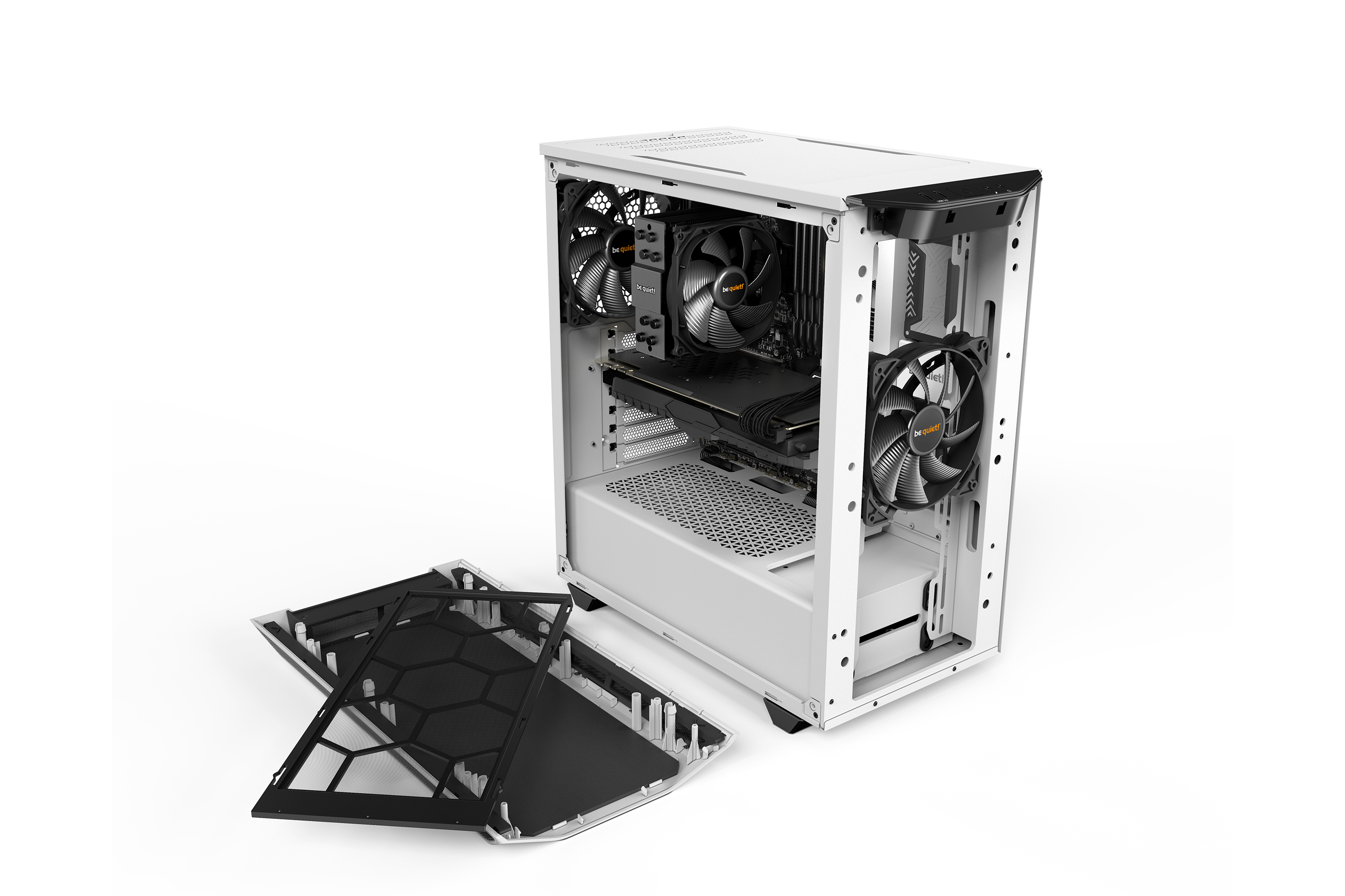 be quiet! Pure Base 500 White, 450 x 231 x 443, IO-panel 2x USB 3.0, HD Audio, 2x 3,5, 5x 2,5, inc 2x 140 mm Pure Wings 2, Watercooling ready