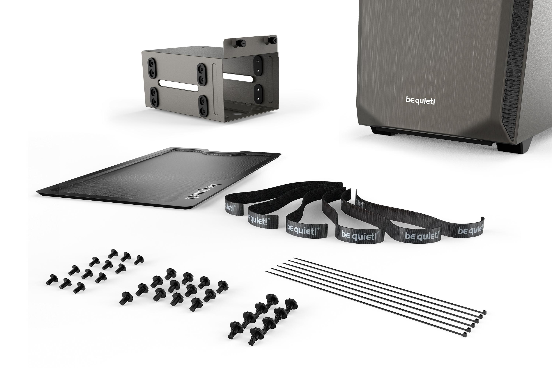 be quiet! Pure Base 500 Gray, 450 x 231 x 443, IO-panel 2x USB 3.0, HD Audio, 2x 3,5, 5x 2,5, inc 2x 140 mm Pure Wings 2, Watercooling ready