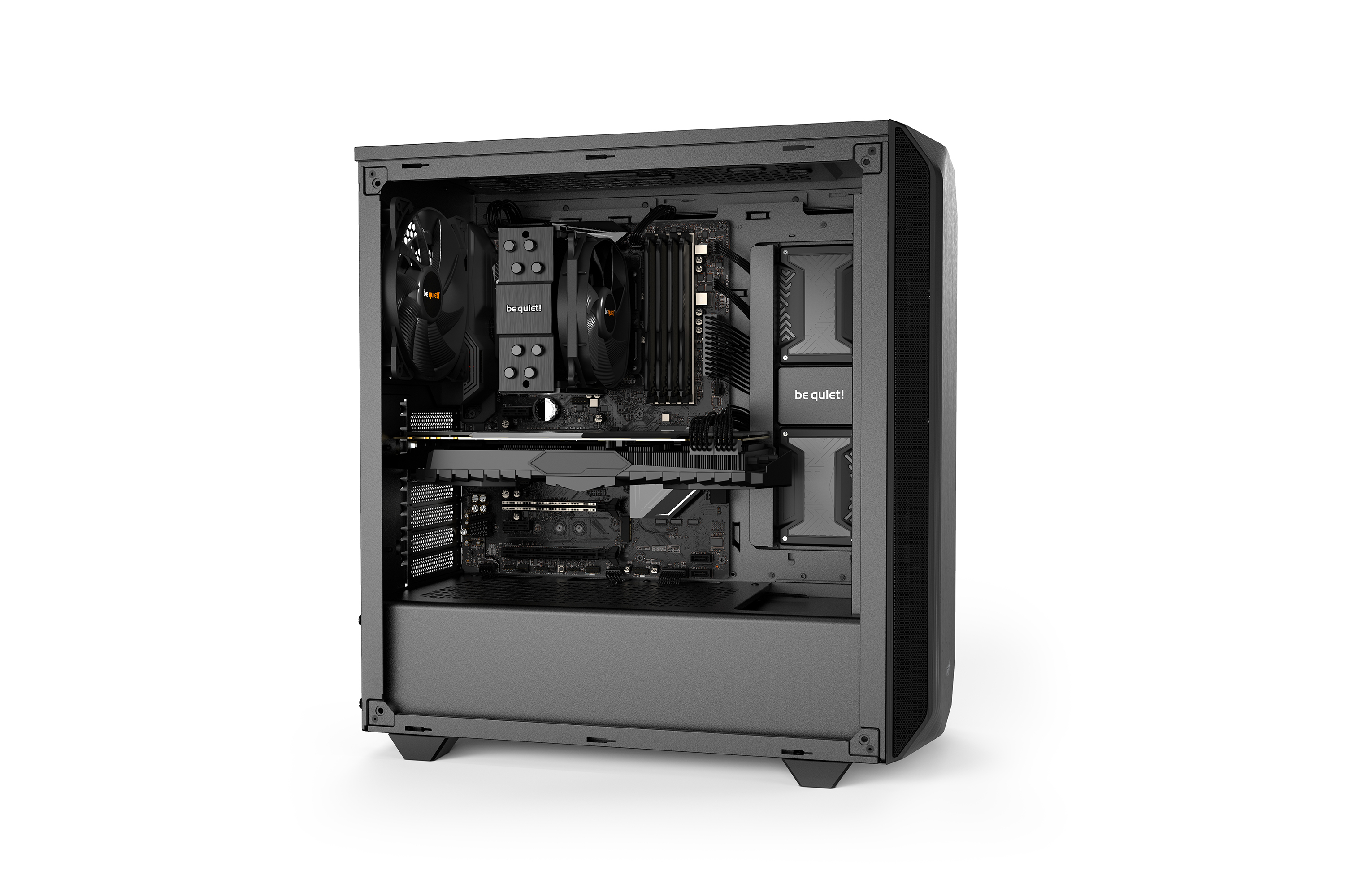 be quiet! Pure Base 500 Black, 450 x 231 x 443, IO-panel 2x USB 3.0, HD Audio, 2x 3,5, 5x 2,5, inc 2x 140 mm Pure Wings 2, Watercooling ready