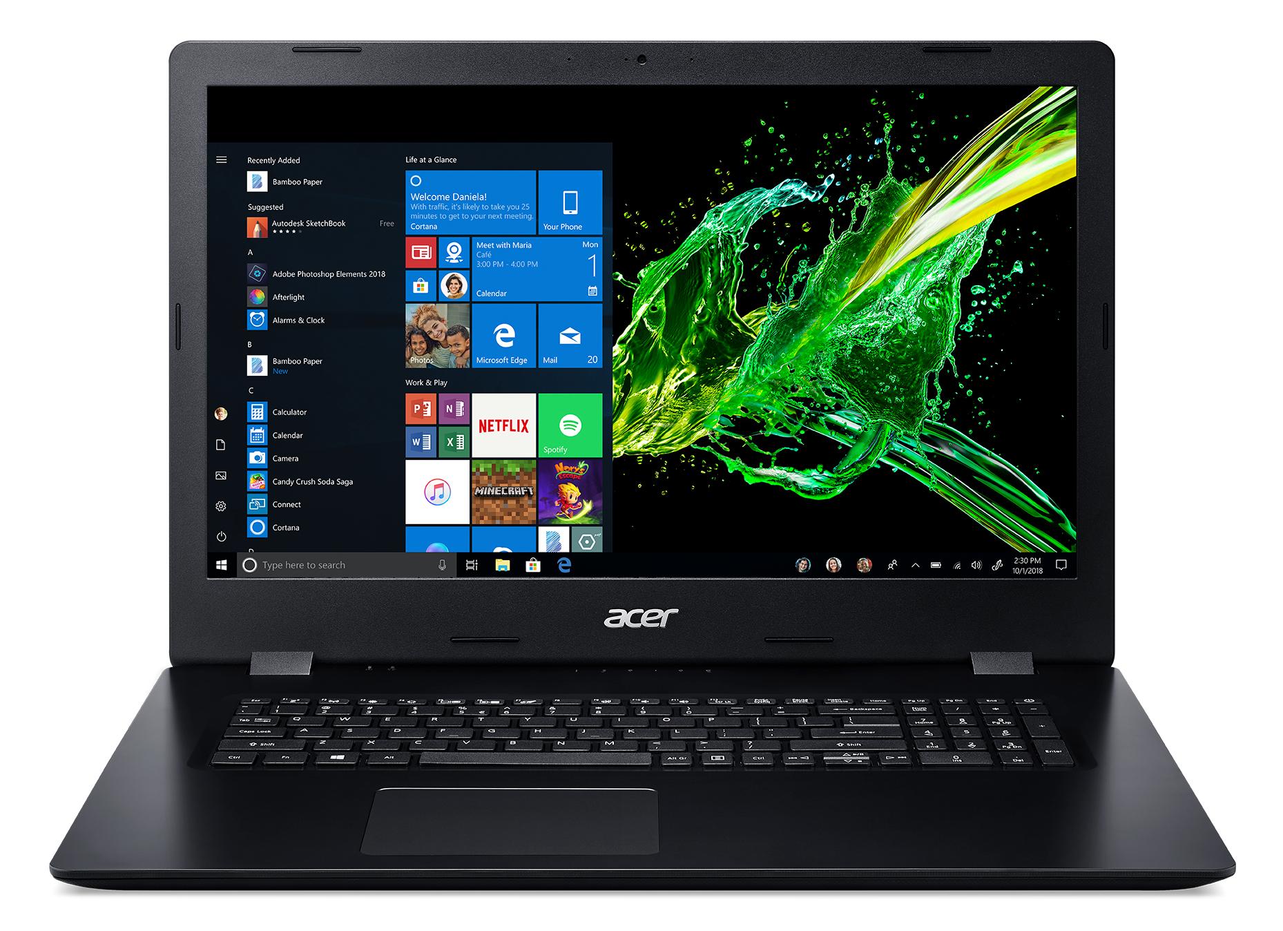 Acer Aspire 3 A317-51-31FW, 17.3inch HD+ CineCrystal LED, i3-8145U processor, 4GB DDR4 , 128GB PCIe NVMe SSD + 1TB HDD, Intel UHD Graphics 620, HDMI, DVD-RW (DL), Wi-Fi 5 AC + BT 4.0,0.3MP webcam met mic., US Int. Keyboard