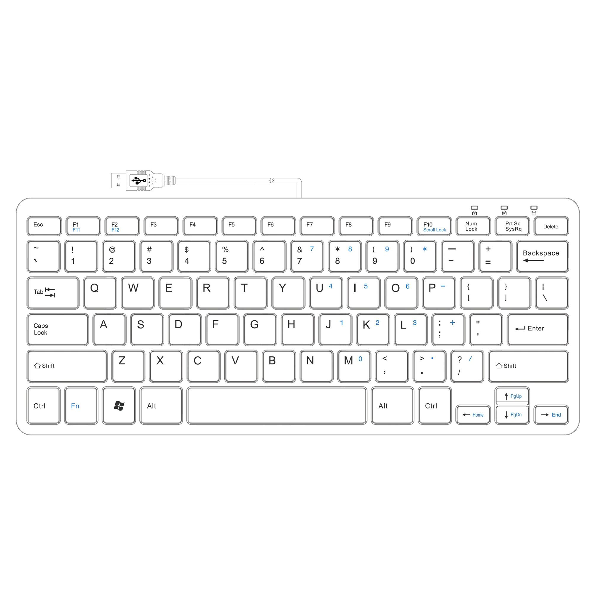R-Go Compact Toetsenbord, QWERTY (US), wit, Bedraad