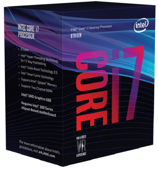 Intel Core i7-8700, 6C/12T, 3,2/4,6 GHz, 9 MB, 65 W, S1151, UHD Graphics 630, 350/1200 Boxed