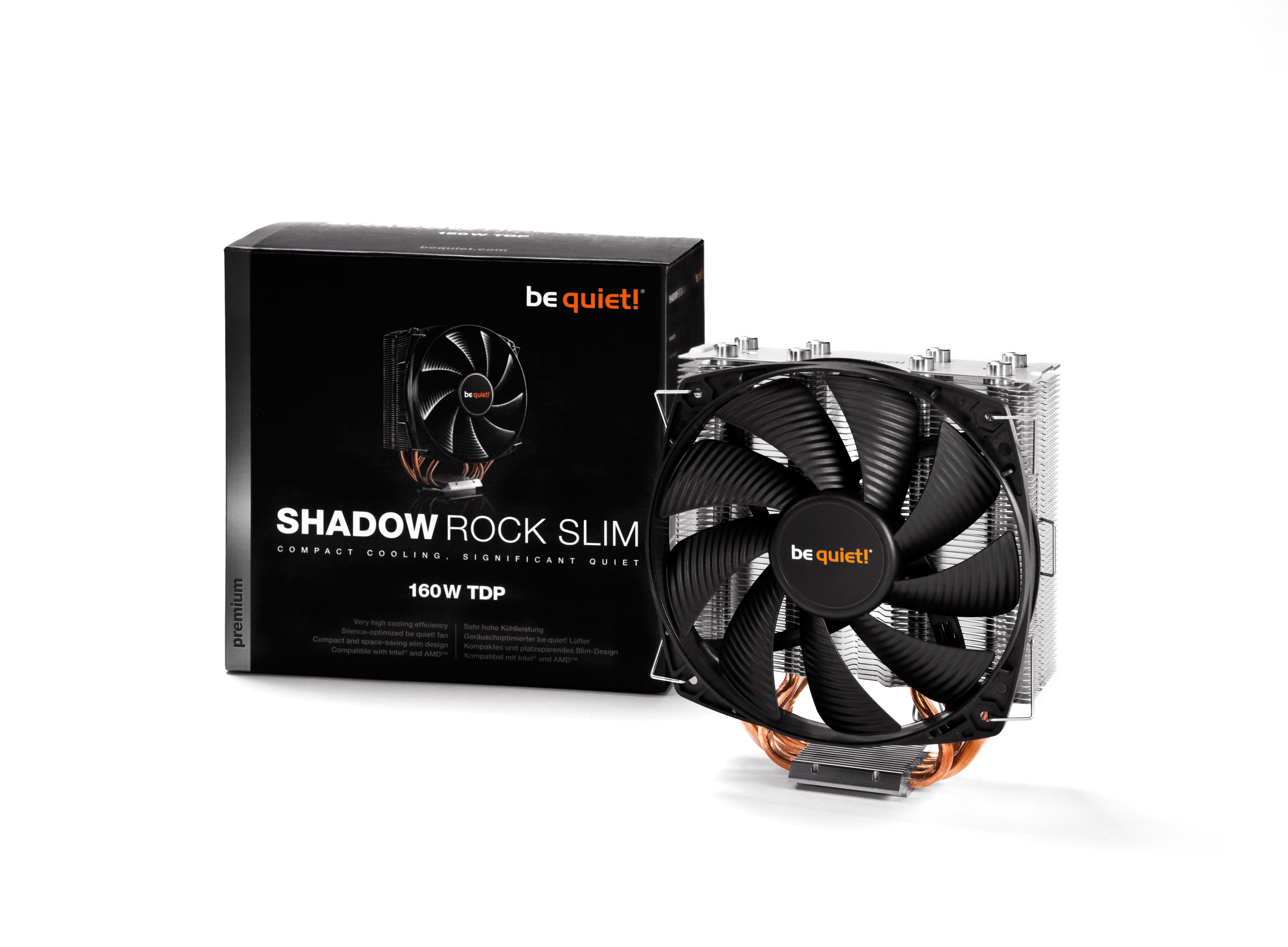 be quiet! Shadow Rock Slim, 160W TDP, Intel: 775 / 1150 / 1155 / 1156 / 1366 / 2011 AMD: AM2 (+) / AM3 (+) / FM1 / FM2 / 754 / 939 / 940