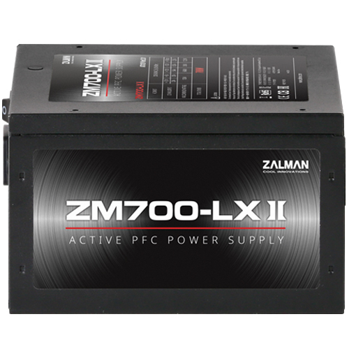 Zalman ZM700-LXII, Efficiency(Max 84%), Active PFC / - OVP / OPP / SCP / OTP / - Sleeving Cables / - 120mm Silent Sleeve Bearing Fan / - Hyper Fan Controller