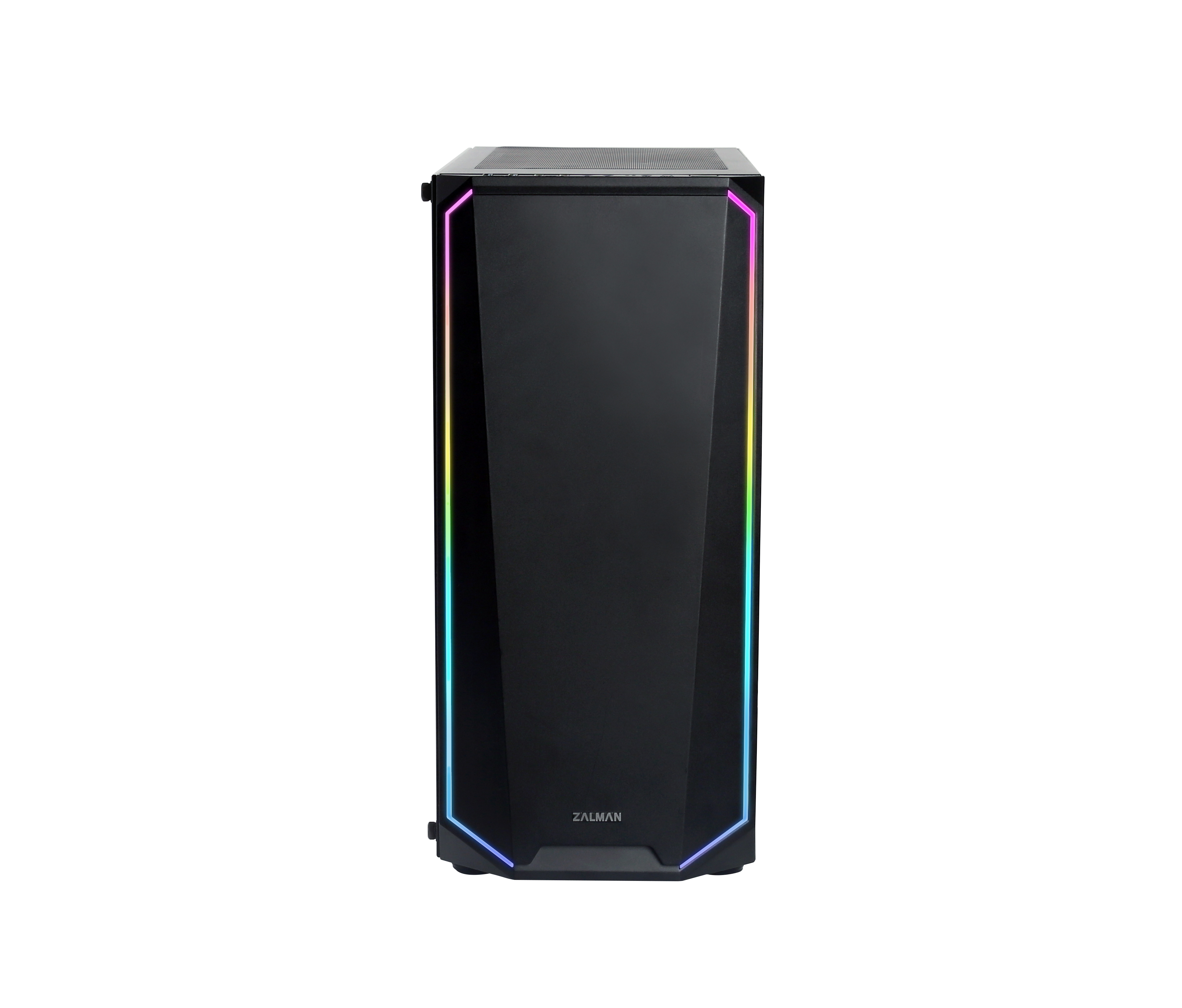 Zalman K1 Rev.A, ATX Mid-Tower Case / RGB spectrum light on the edge of front / Pre-installed: 120mm Auto RGB fan in rear, 120mm black fan in front Tempered glass on left side, Compatible with 360mm AIO water cooler, Dimension : 458(D) x 210(W) x 450