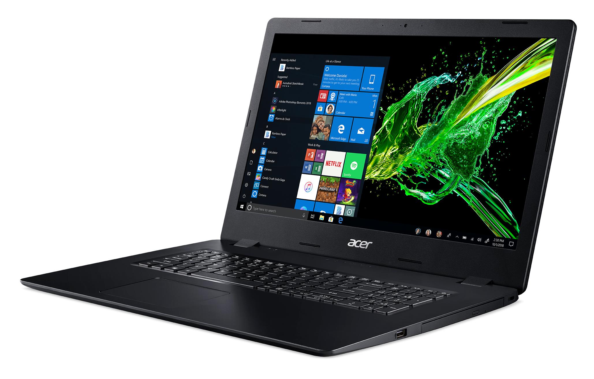 Acer Aspire A317-51-33KG, 17.3inch HD+ CineCrystal, Intel Core i3-10110U, 4GB, 256GB PCIe NVMe SSD, Intel UHD Graphics 620, DVD-RW, Wi-Fi 5 AC + BT, Win10Pro , US Intl keyboard