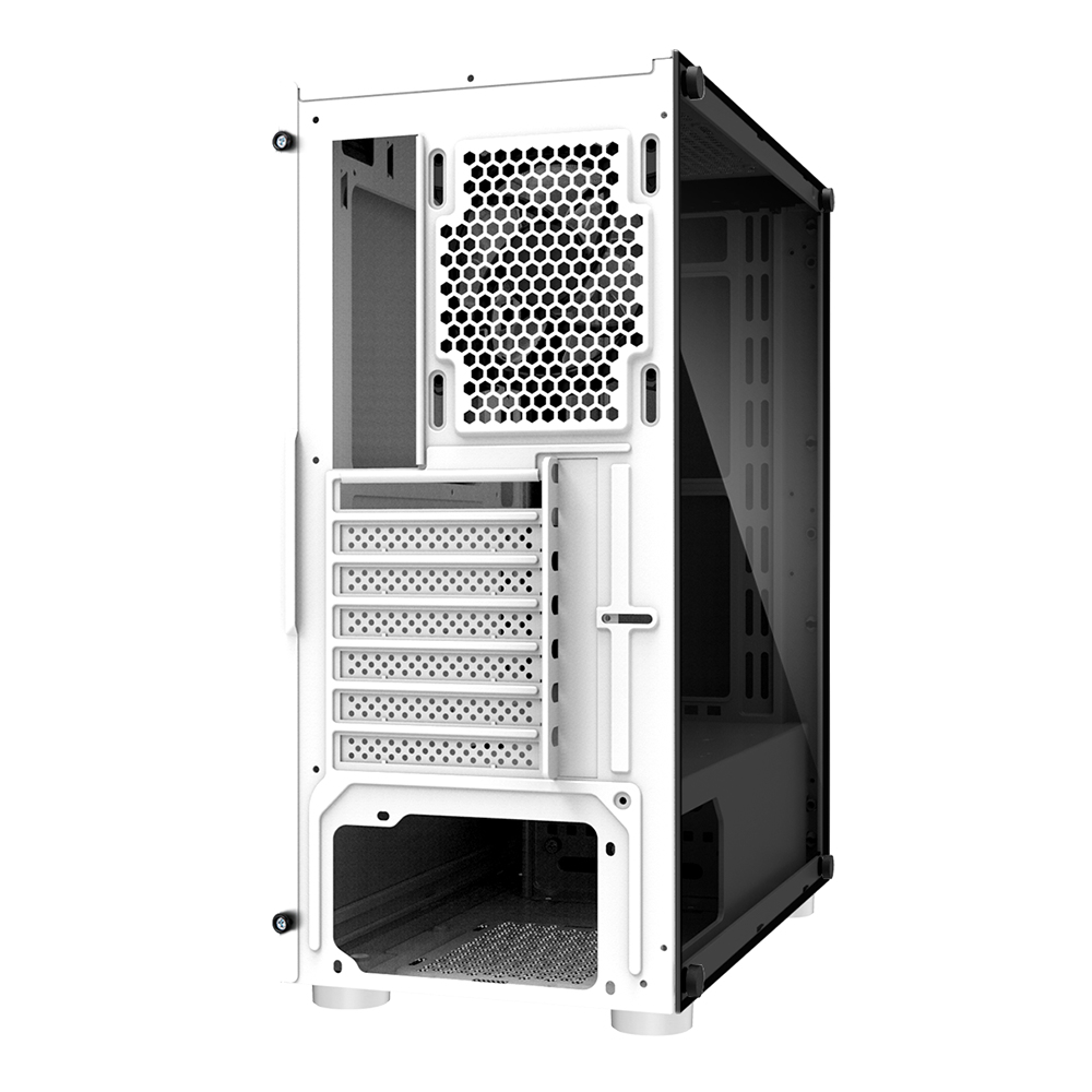 Zalman R2 White, ATX Mid-Tower Case, Front: 1x 120mm fan, Rear: 1x 120mm RGB fan, RGB fan controller button on Top, Tempered glass links. Support 240mm AIO Water Cooler (Front), Dimension : 408 x 202 x 456mm