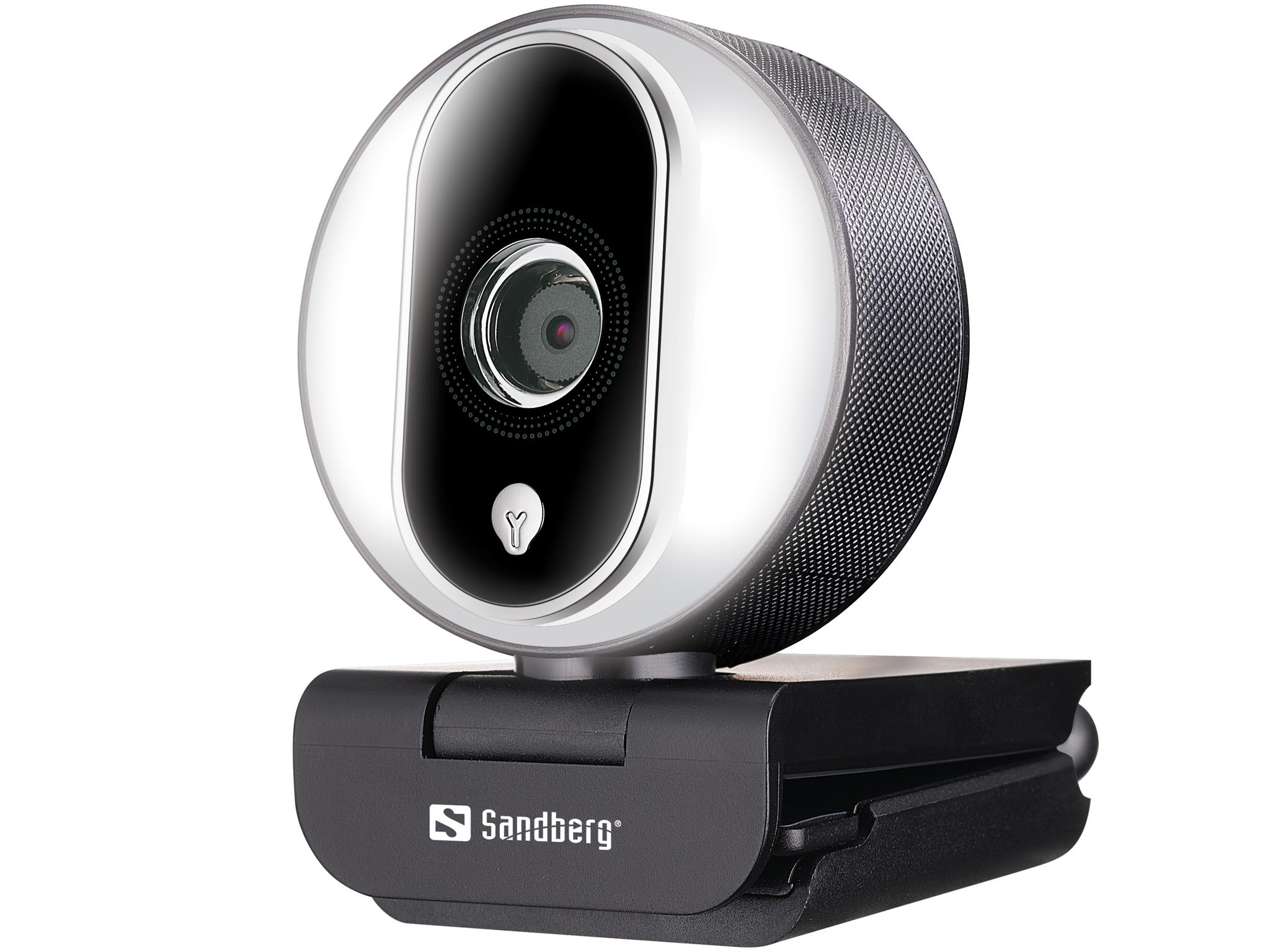 Sandberg Streamer USB Webcam Pro, 1080p 30 fps, 720p 60 fps, ring light