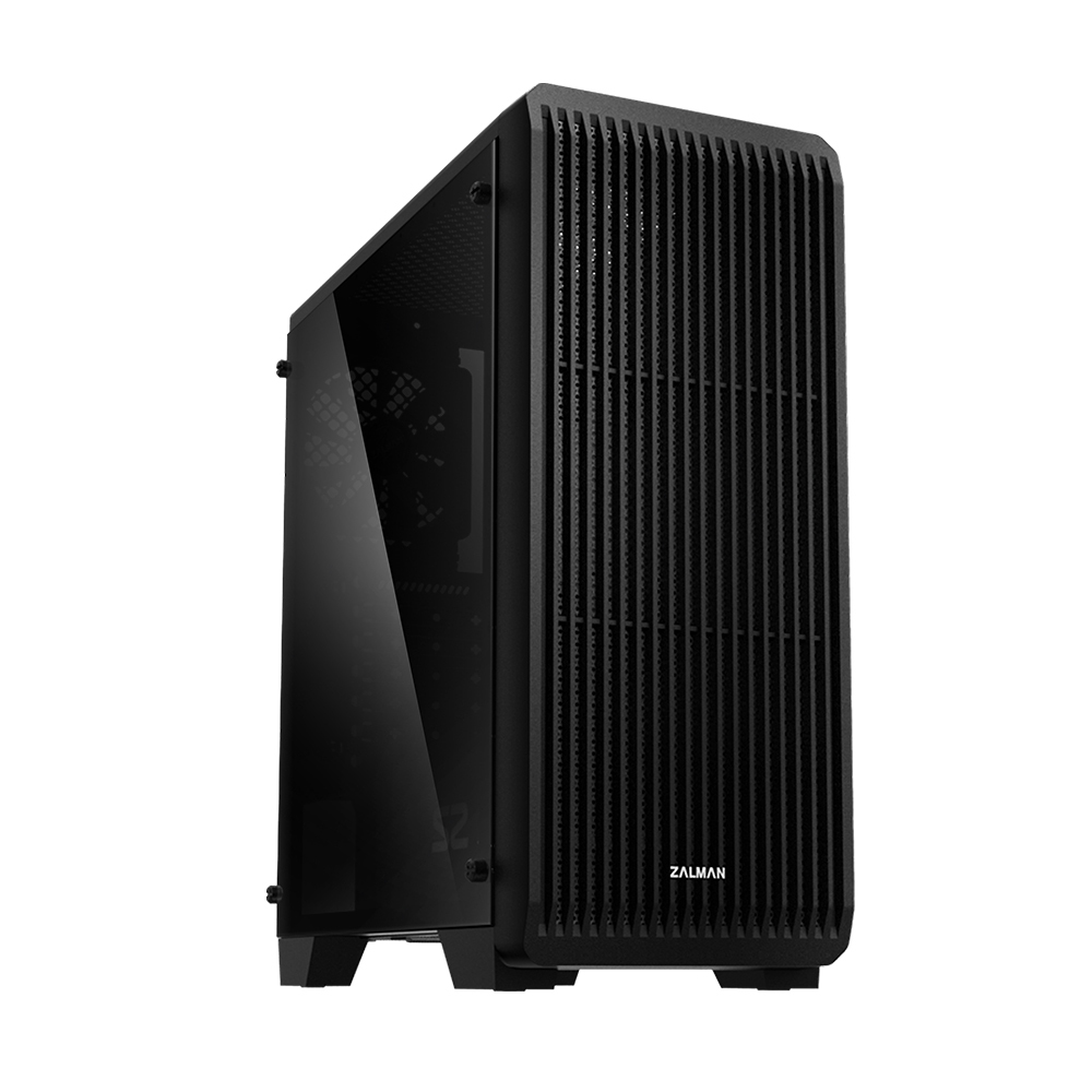 Zalman S2 TG, ATX Mid Tower PC Case, Pre-installed fan: 120mm black fan in rear, Air vent on front for efficient cooling, Tempered Glass window on left, Dust filter at bottom & top, Dimension : 412(D) x 189(W) x 451(H)mm