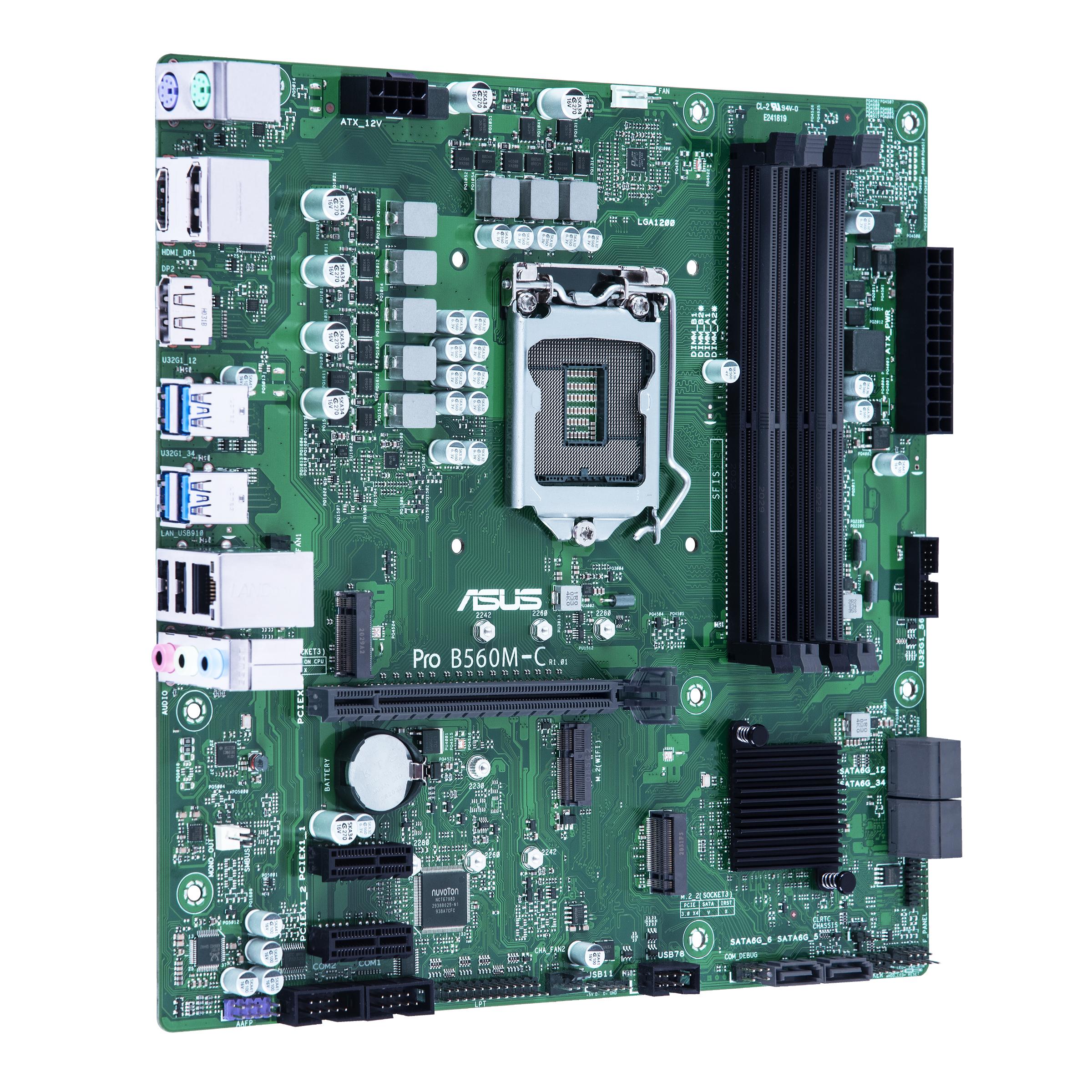 ASUS Pro B560M-C/CSM Mainboard, Socket 1200, B560, 4 x DDR4, 2 x DP1.4, 1 x HDMI, 1 x PCIe 4 x16, 1 x M.2 PCIe 4 (only 11th gen cpu), 1 x M.2 PCIe 3, 6x sata, Intel GBIT LAN