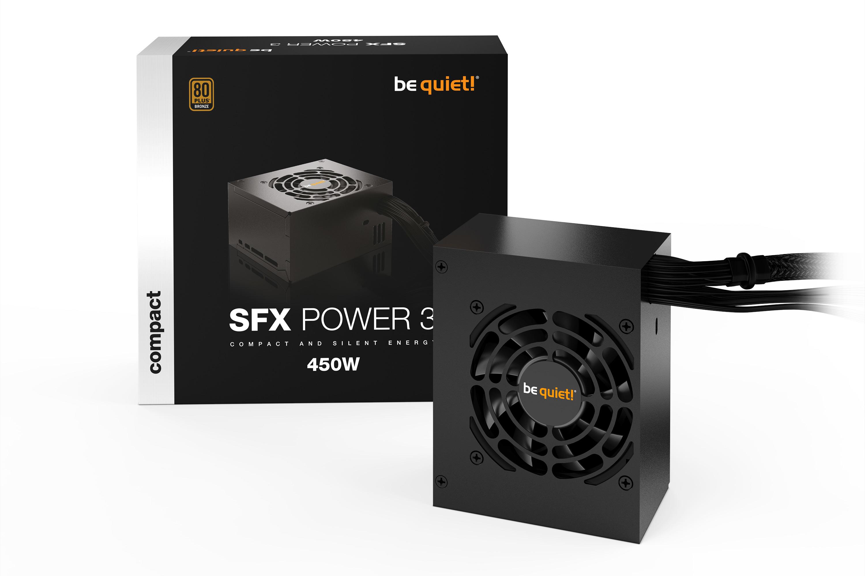 be quiet! SFX Power 3 450W, 80+ Bronze, ErP, Energy Star 8 APFC, Sleeved, 2xPCI-Ex, 3xSATA, 2xPATA, 80 mm fan