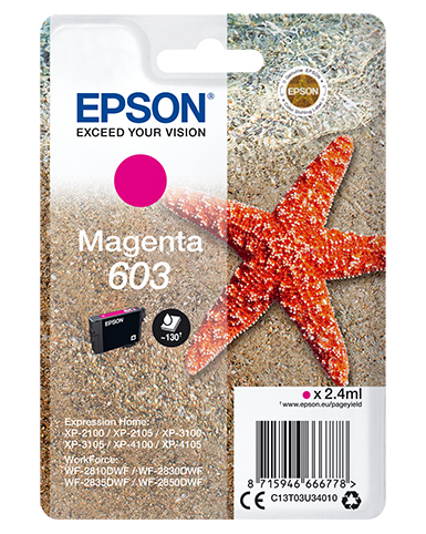 Epson 603 magenta, 2.4ml, origineel, voor expression home xp-2100, 2105, 3100, 3105, 4100, 4105 workforce wf-2810, 2830, 2835, 2850