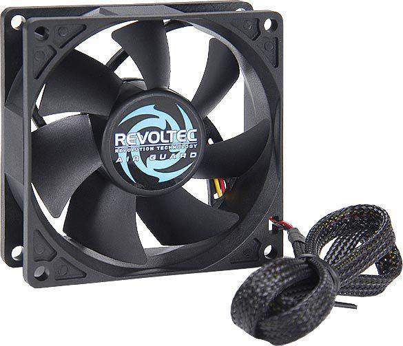 Revoltec Fan Airguard 80x80x25 mm, airflow 25.44cfm, 22.41db, 3 pin molex, 2000rpm