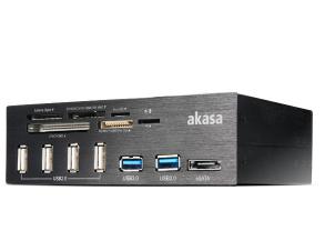 Akasa 5.25 interconnect pro, aluminium panel with usb (4xusb2, 2xusb3.0), card reader and esata