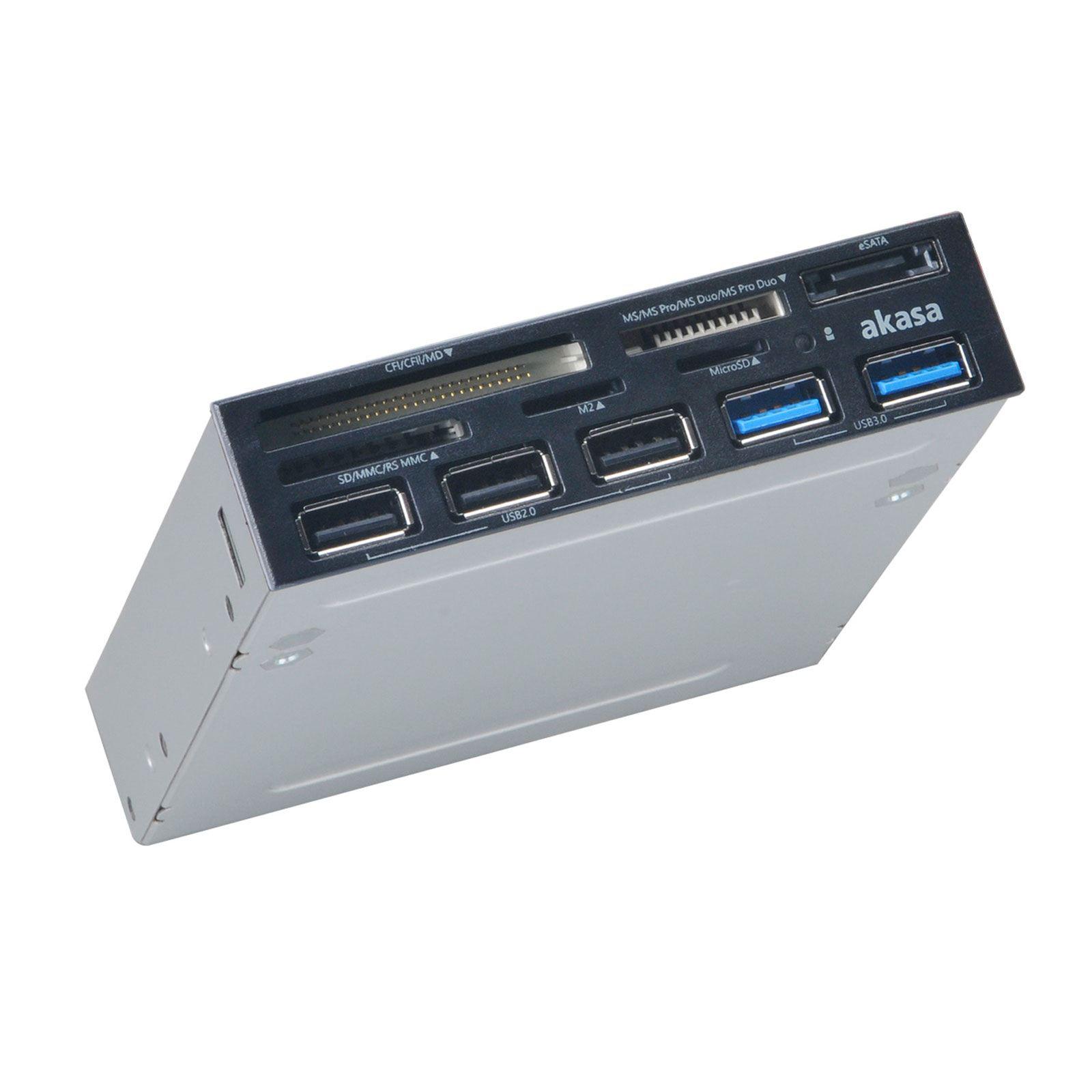 Akasa 3.5 usb 2.0, 5-slot mulitcard reader with esata and multiple usb port panel